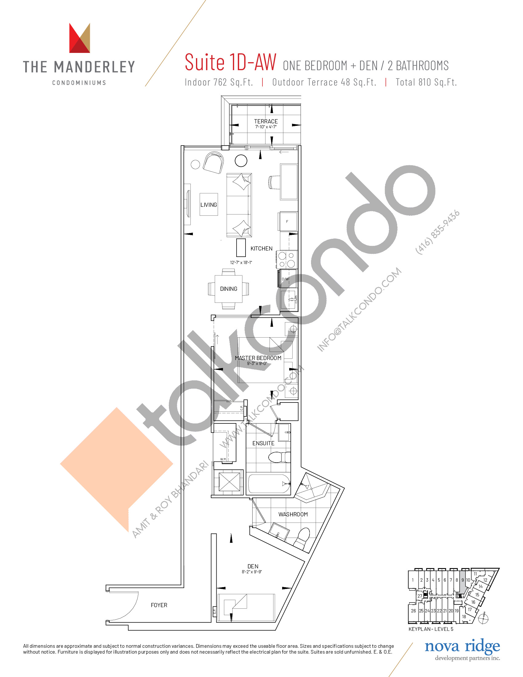 Suite 1D-AW Floor Plan at The Manderley Condos - 762 sq.ft