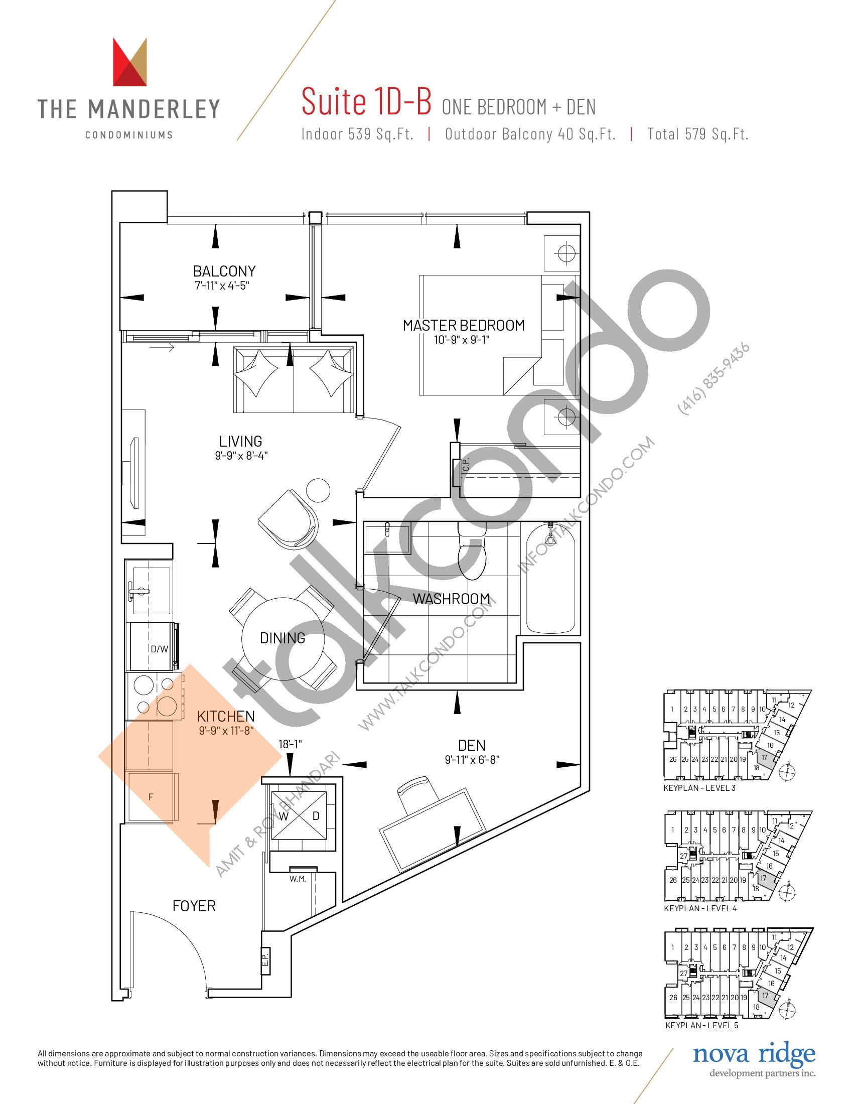 Suite 1D-B Floor Plan at The Manderley Condos - 539 sq.ft
