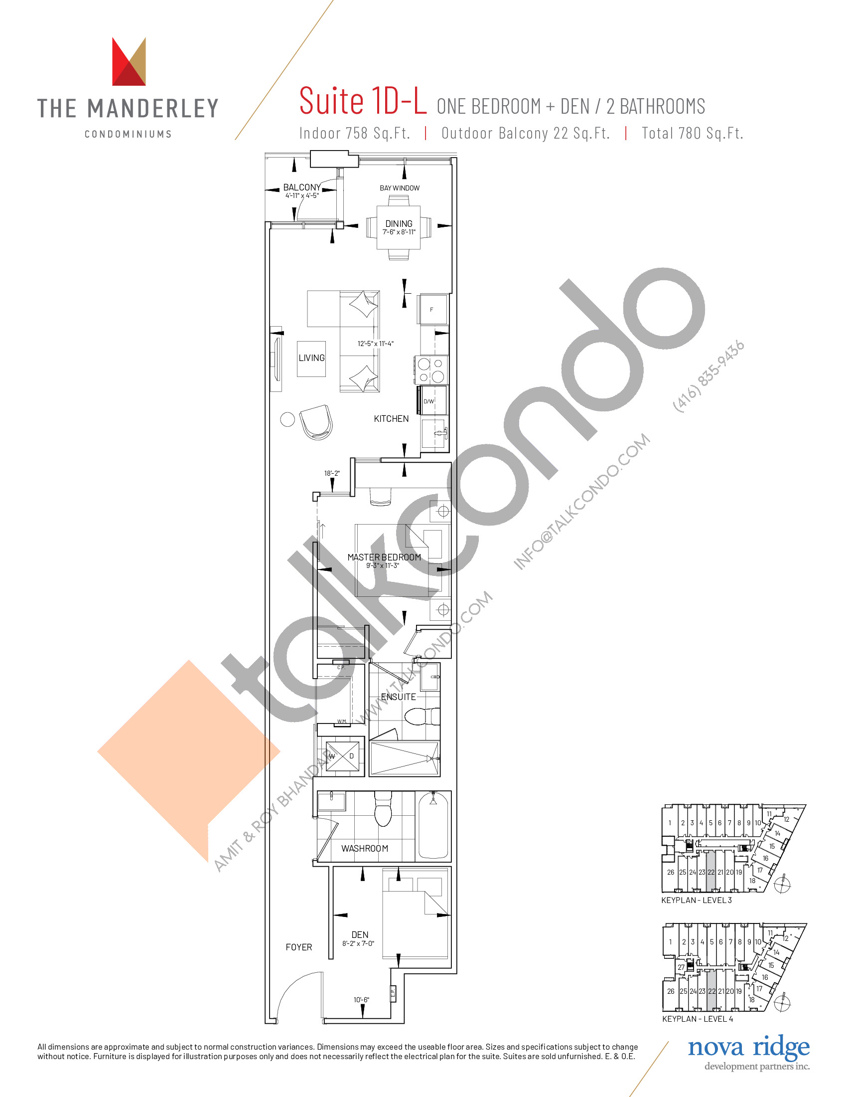 Suite 1D-L Floor Plan at The Manderley Condos - 758 sq.ft