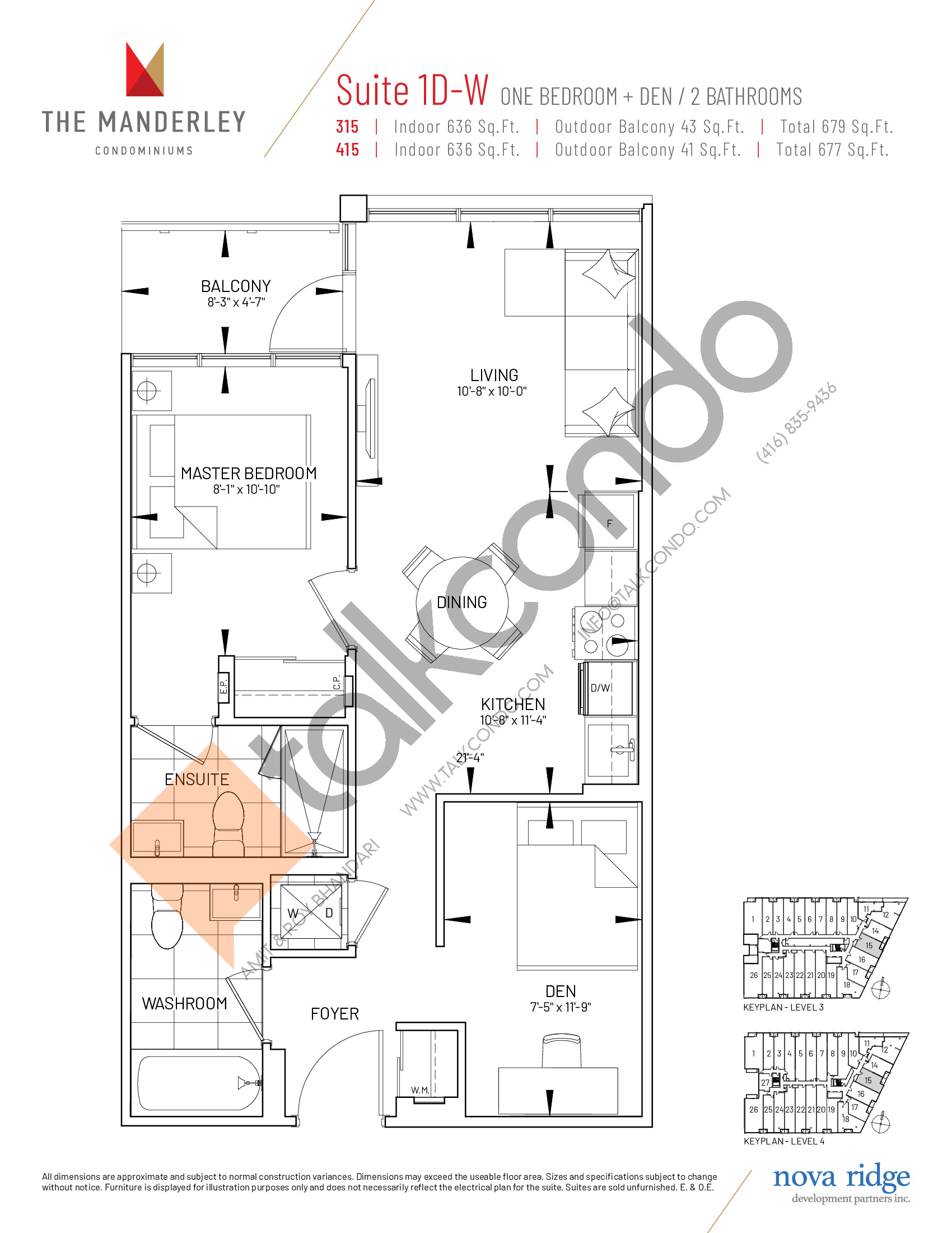 Suite 1D-W Floor Plan at The Manderley Condos - 636 sq.ft