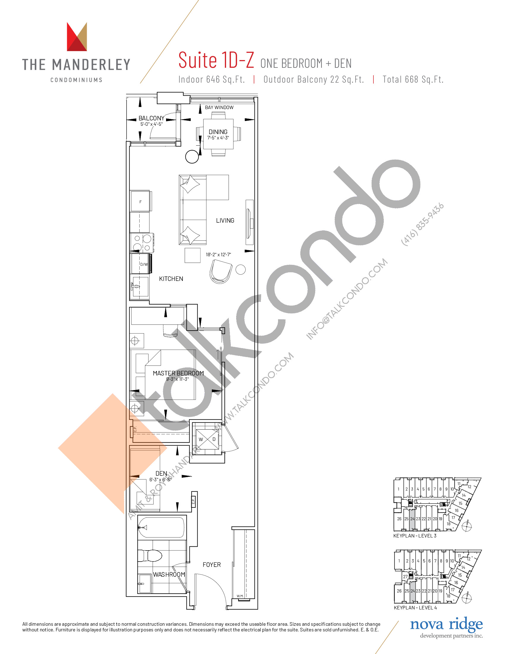 Suite 1D-Z Floor Plan at The Manderley Condos - 646 sq.ft