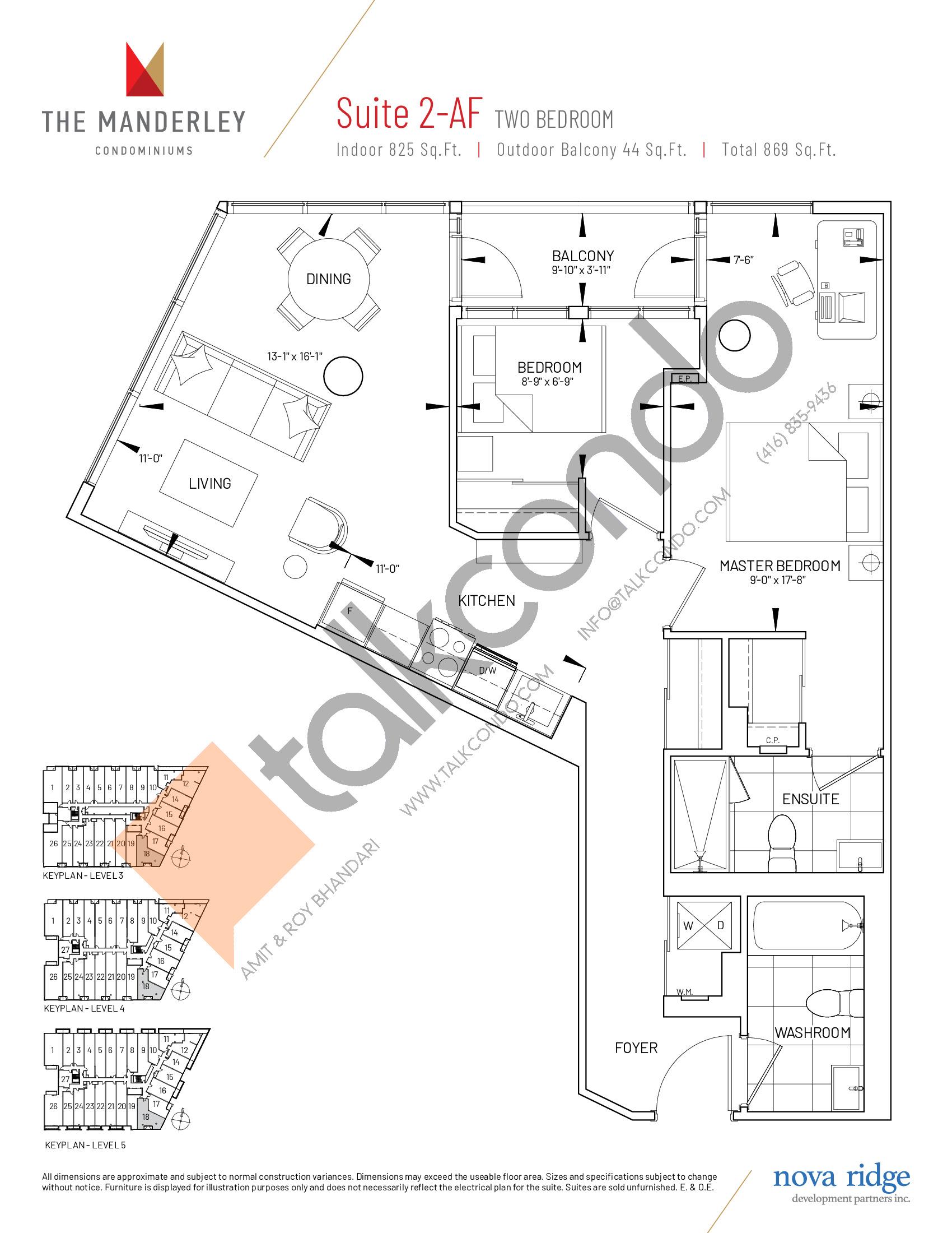 Suite 2-AF Floor Plan at The Manderley Condos - 825 sq.ft