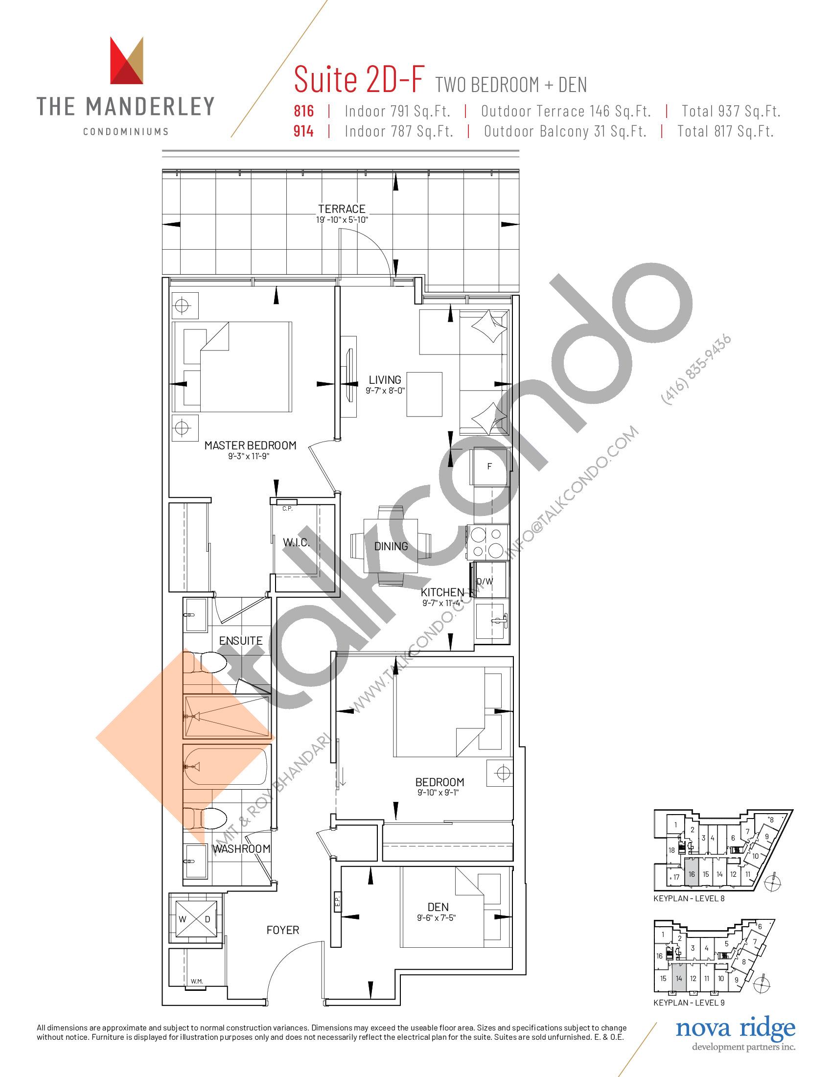 Suite 2D-F Floor Plan at The Manderley Condos - 791 sq.ft