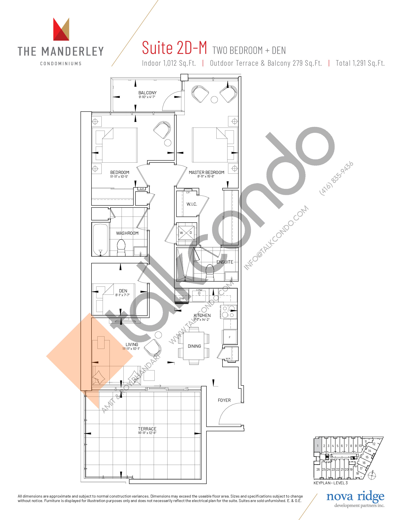 Suite 2D-M Floor Plan at The Manderley Condos - 1012 sq.ft