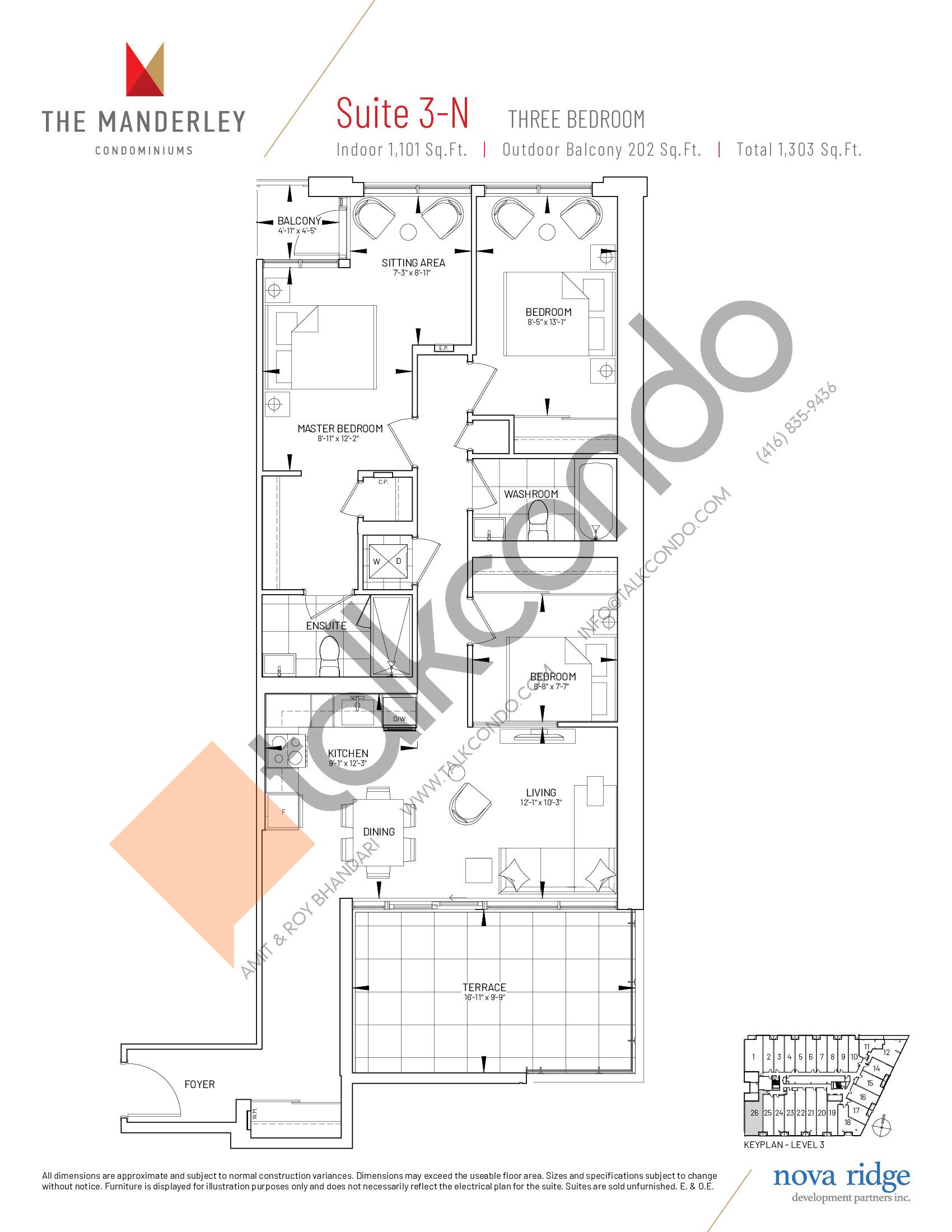 Suite 3-N Floor Plan at The Manderley Condos - 1101 sq.ft