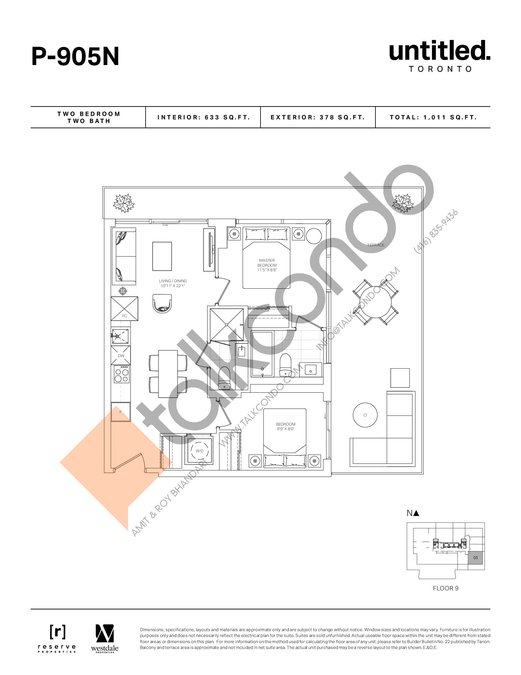P-905N Floor Plan at Untitled North Tower Condos - 633 sq.ft
