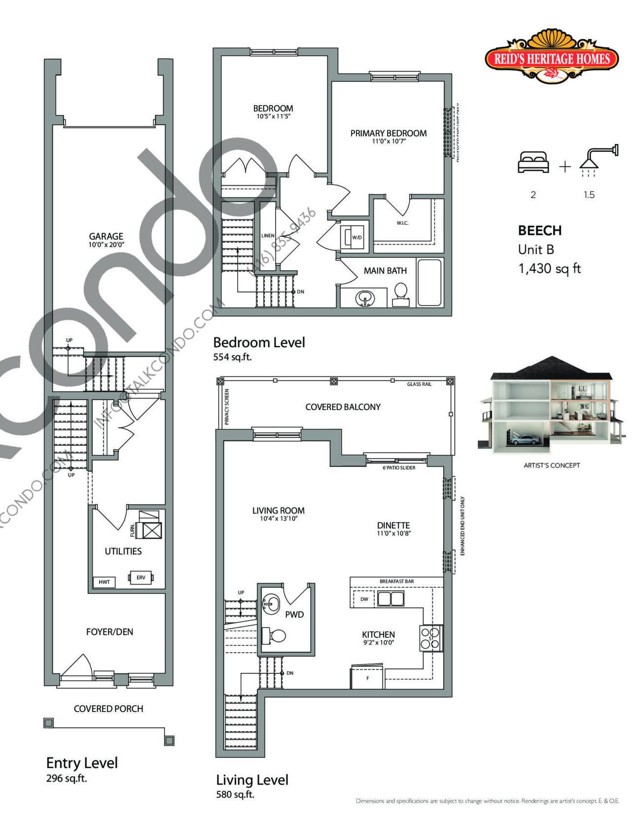 Beech (Oakhurst Collection) Floor Plan at West Oak Urban Towns - 1430 sq.ft