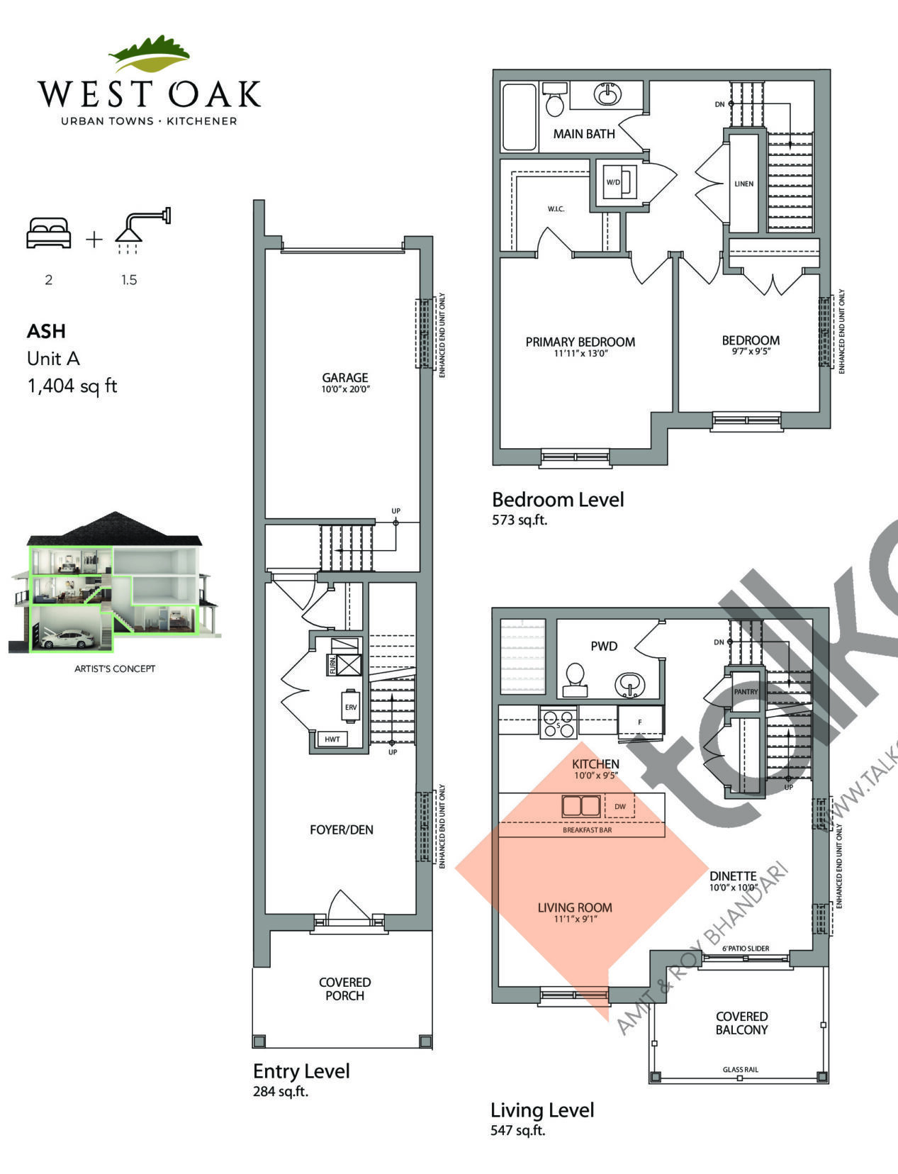 Ash (Oakhurst Collection) Floor Plan at West Oak Urban Towns - 1404 sq.ft