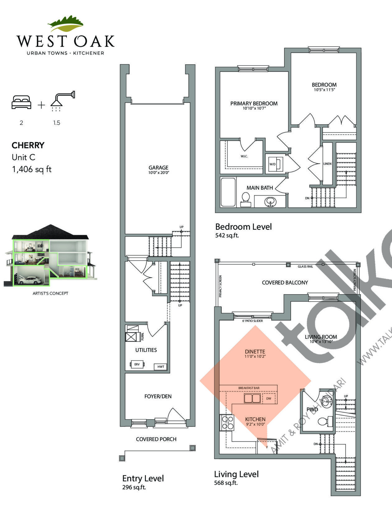 Cherry (Oakhurst Collection) Floor Plan at West Oak Urban Towns - 1406 sq.ft