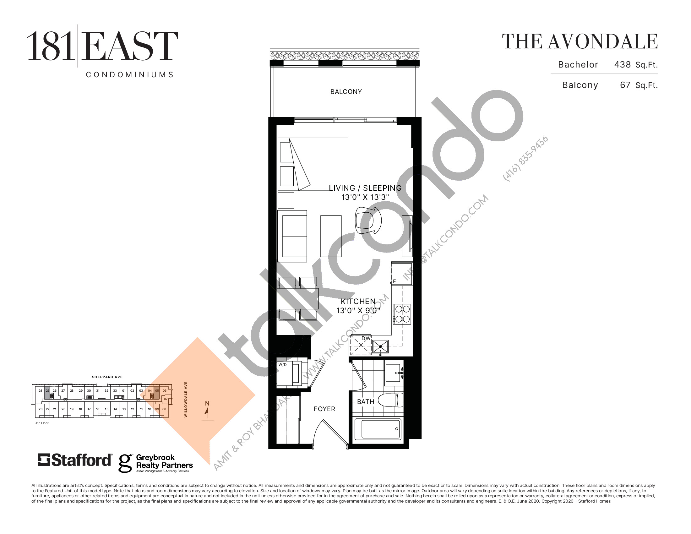 The Avondale Floor Plan at 181 East Condos - 438 sq.ft