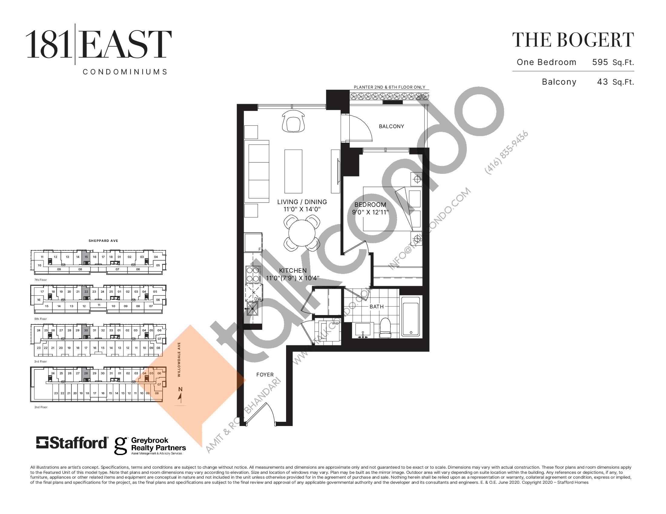 The Bogert Floor Plan at 181 East Condos - 595 sq.ft