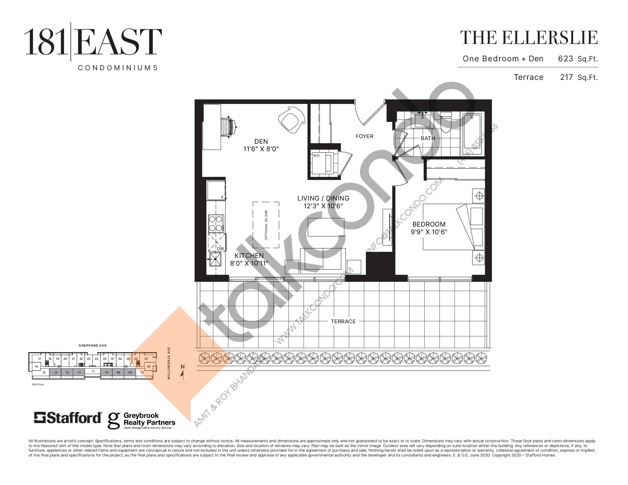 The Ellerslie Floor Plan at 181 East Condos - 623 sq.ft