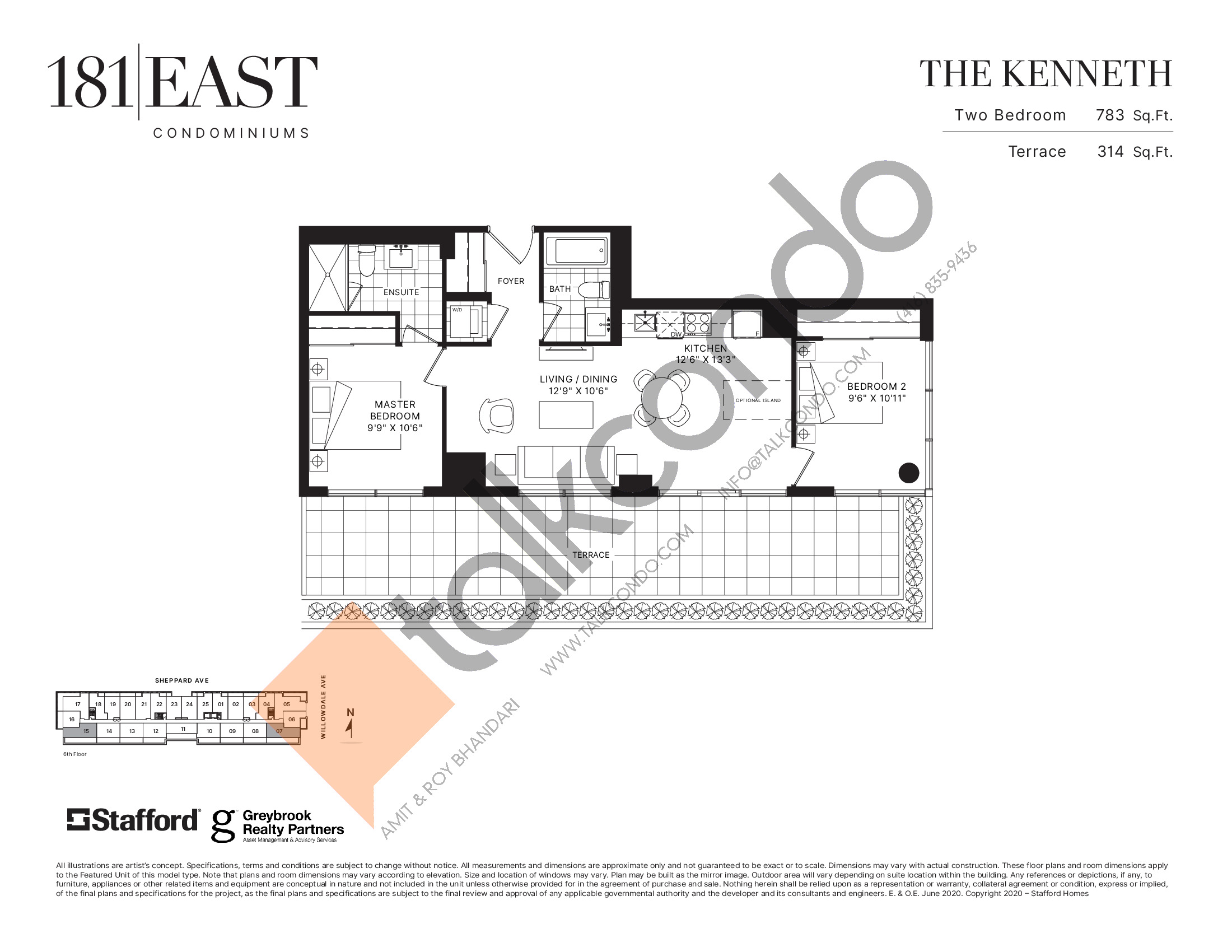 The Kenneth Floor Plan at 181 East Condos - 783 sq.ft