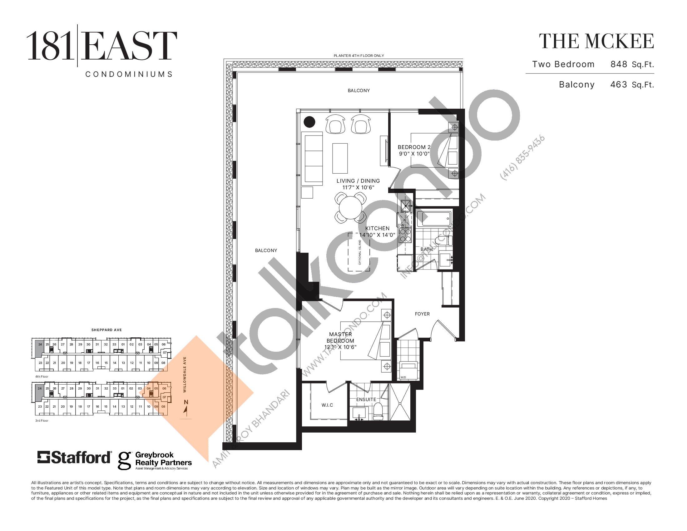 The McKee Floor Plan at 181 East Condos - 848 sq.ft