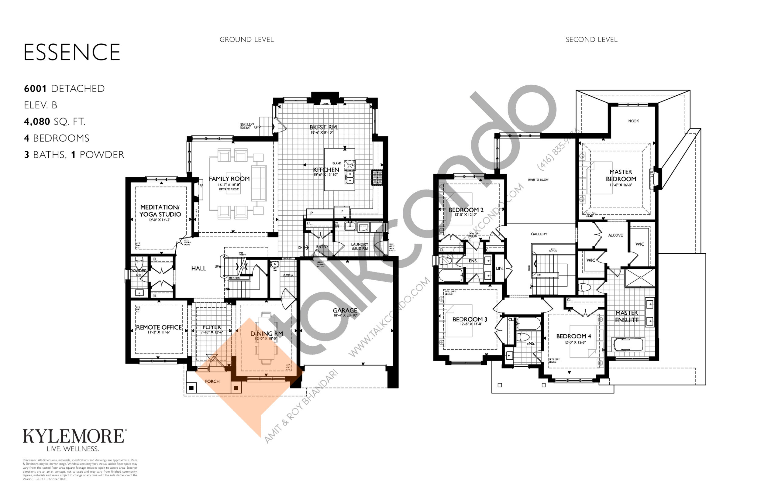 Essence - Elev. B Floor Plan at Angus Glen South Village - 4080 sq.ft
