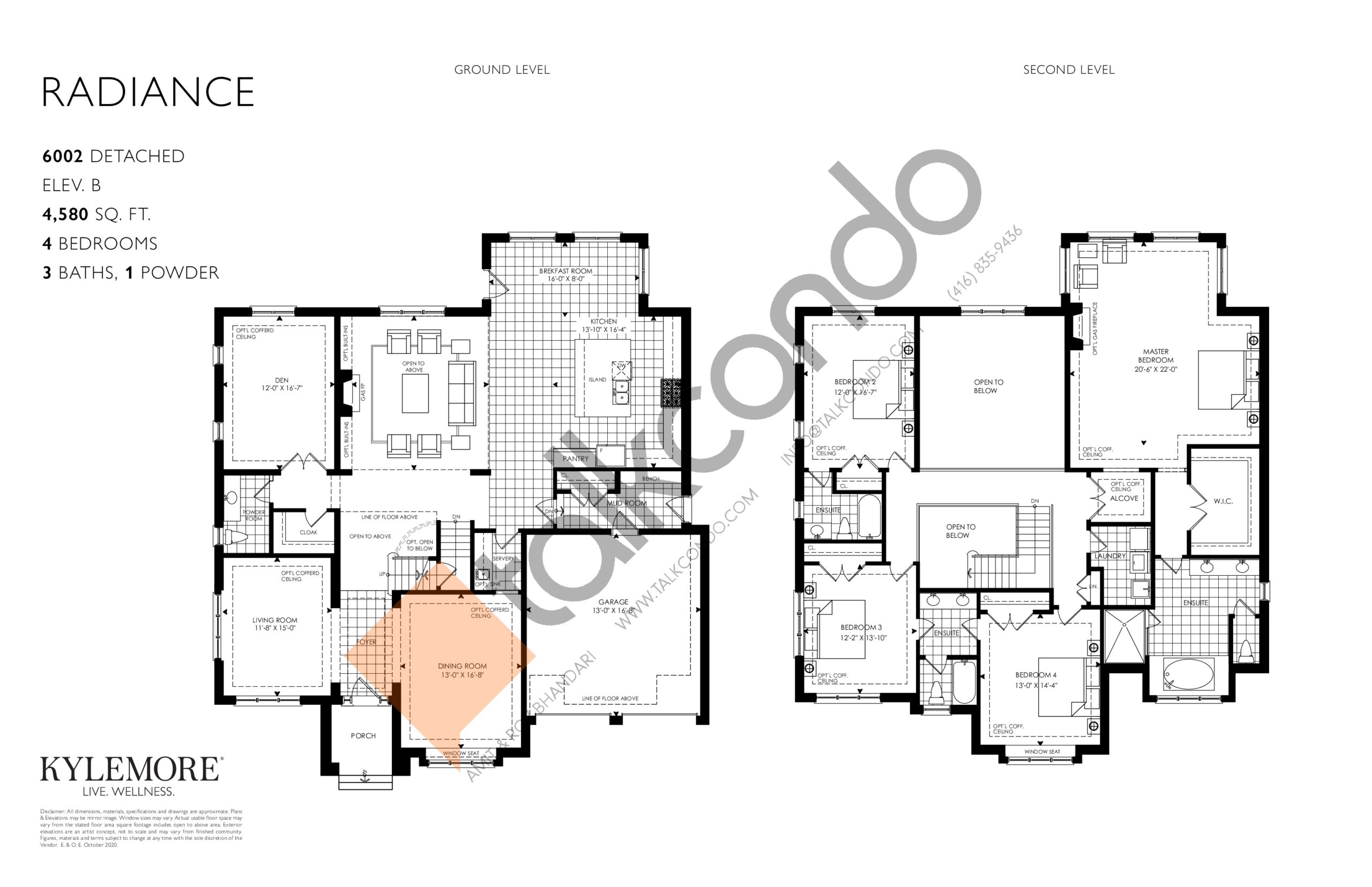 Radiance - Elev. B Floor Plan at Angus Glen South Village - 4580 sq.ft