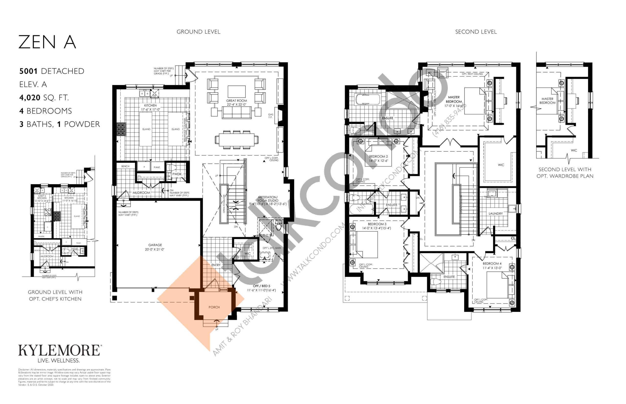 Zen A - Elev. A Floor Plan at Angus Glen South Village - 4020 sq.ft