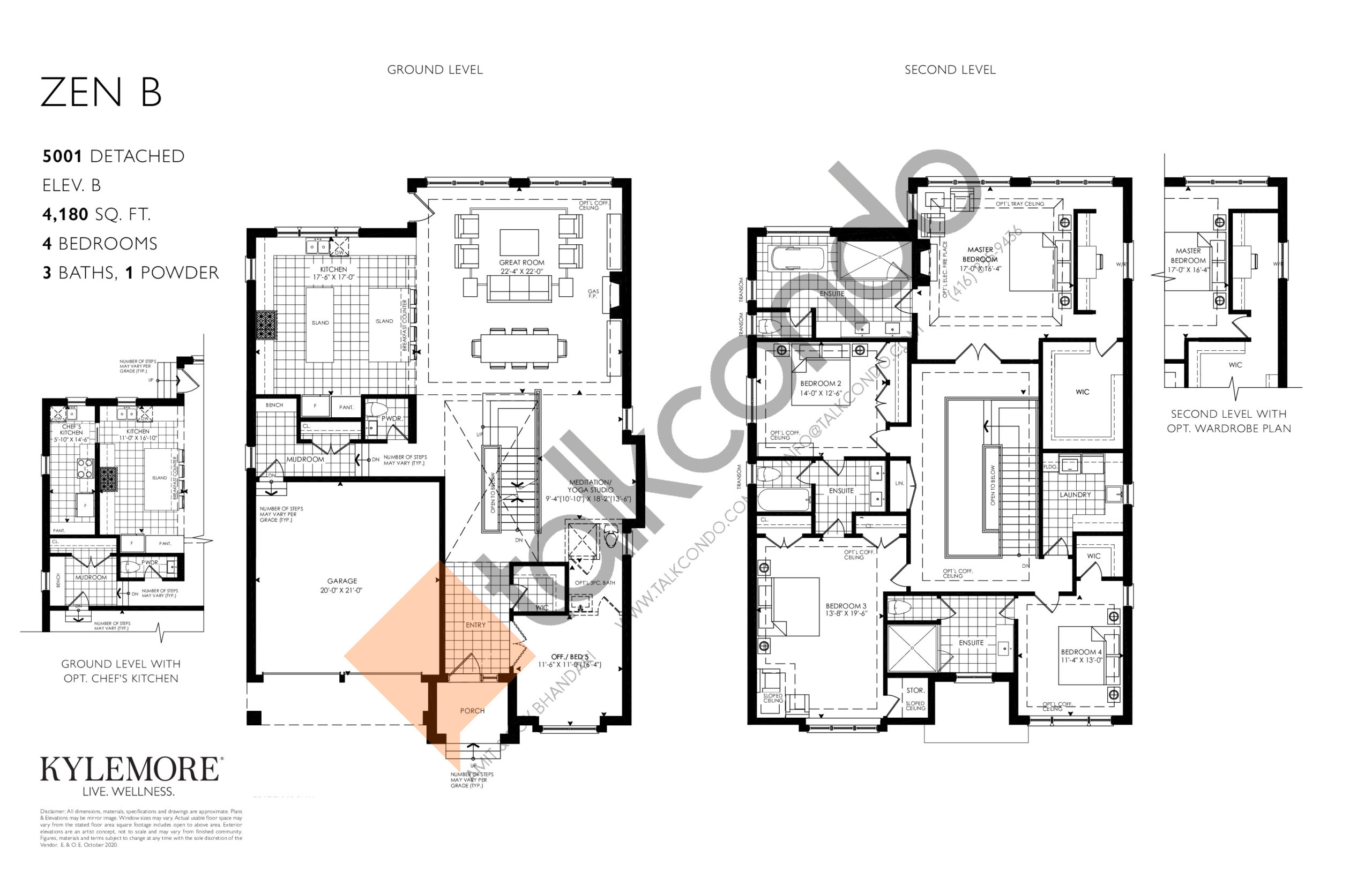 Zen B - Elev. B Floor Plan at Angus Glen South Village - 4180 sq.ft