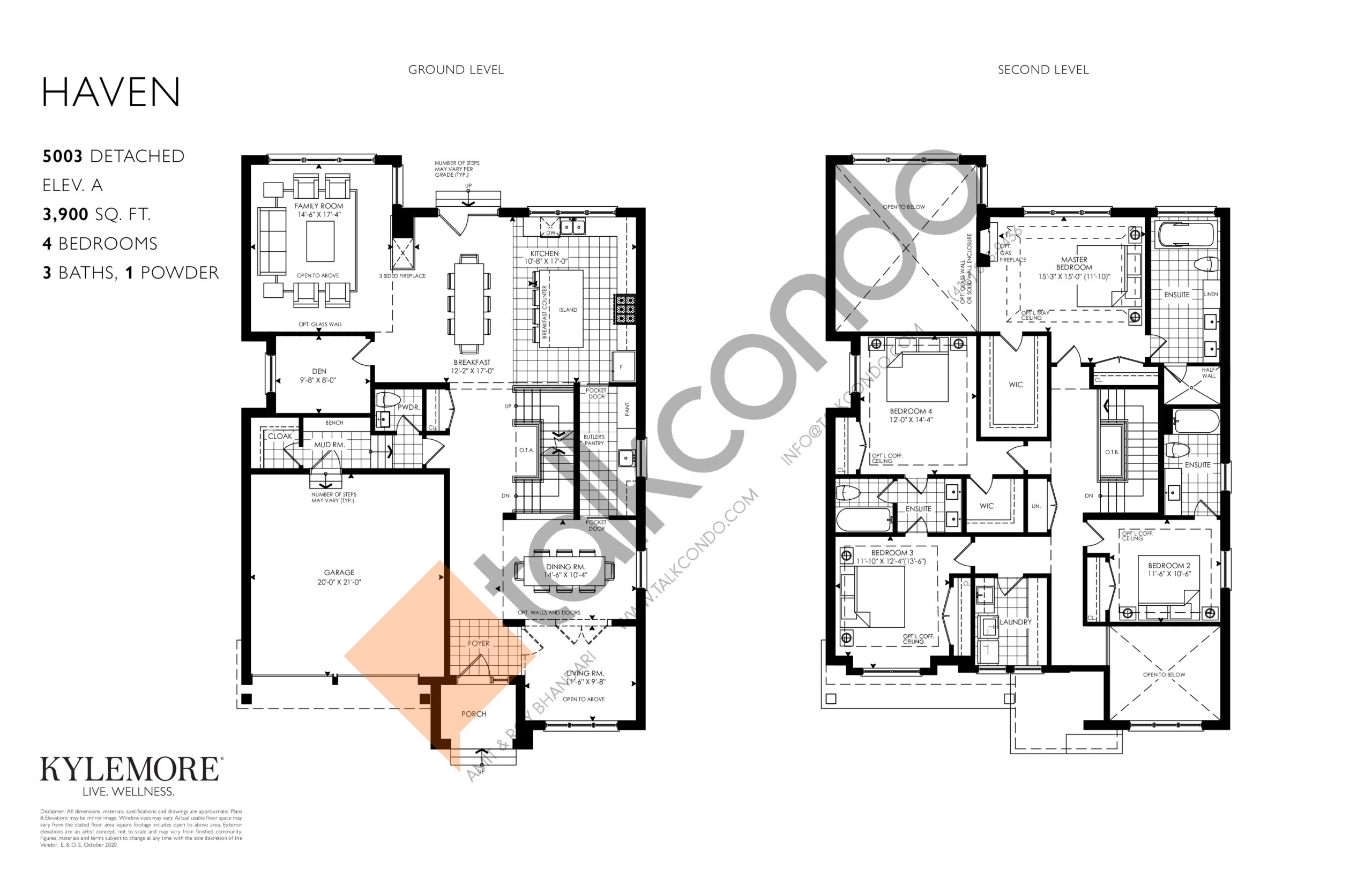 Haven - Elev. A Floor Plan at Angus Glen South Village - 3900 sq.ft