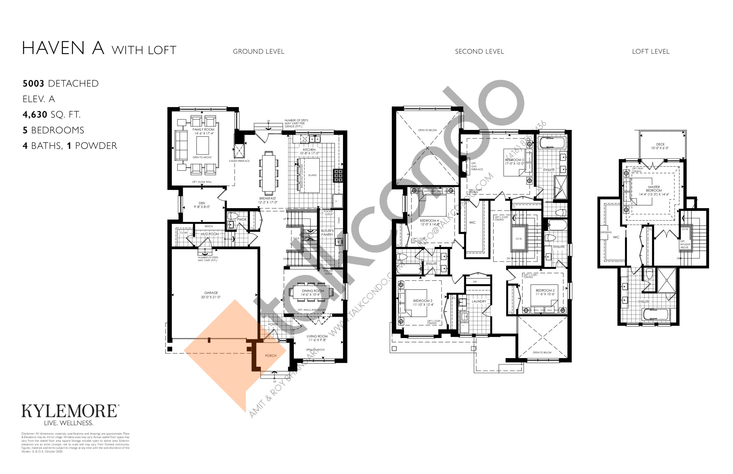 Haven - Elev. A with Loft Floor Plan at Angus Glen South Village - 4630 sq.ft
