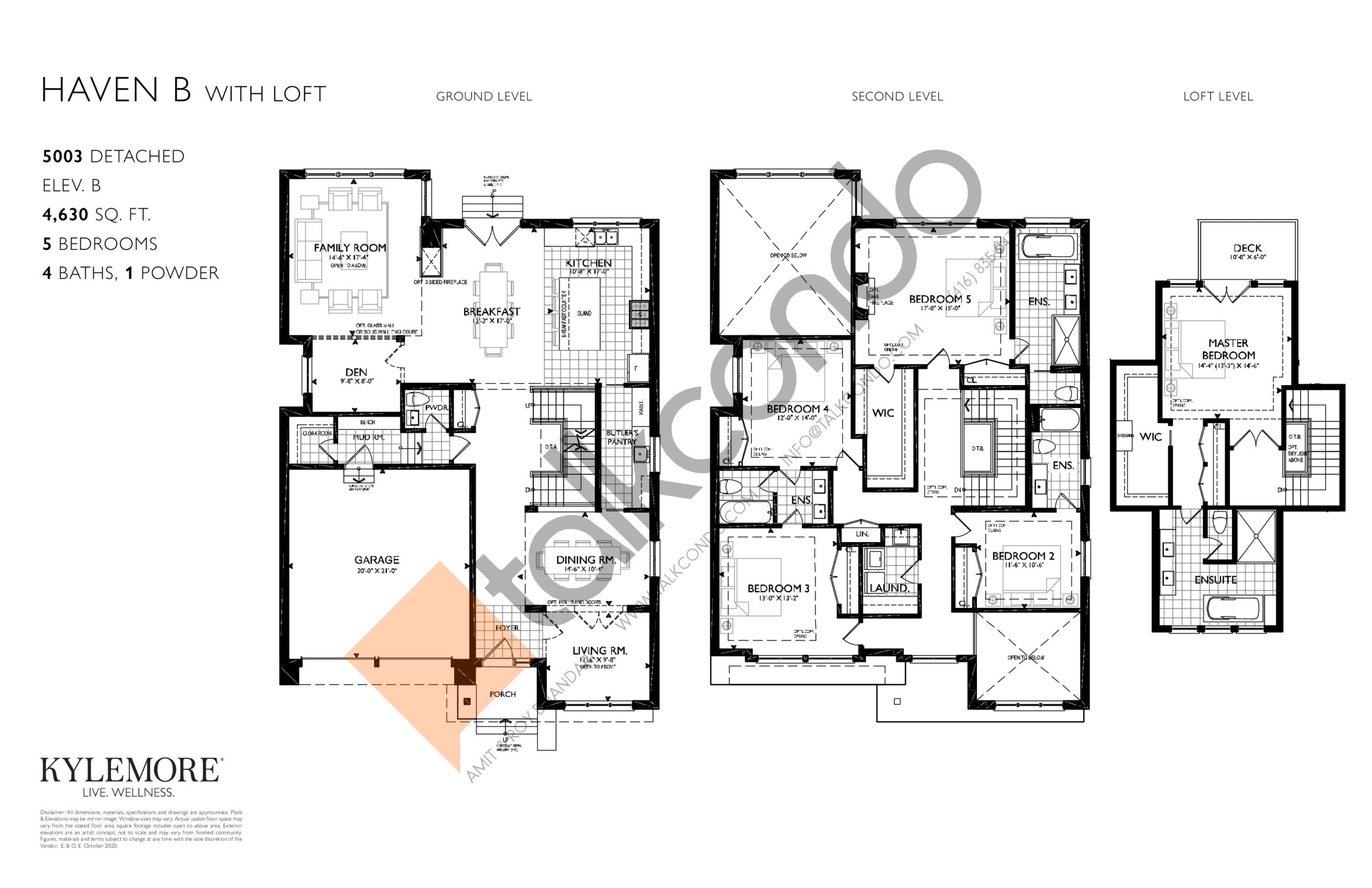 Haven - Elev. B with Loft Floor Plan at Angus Glen South Village - 4630 sq.ft