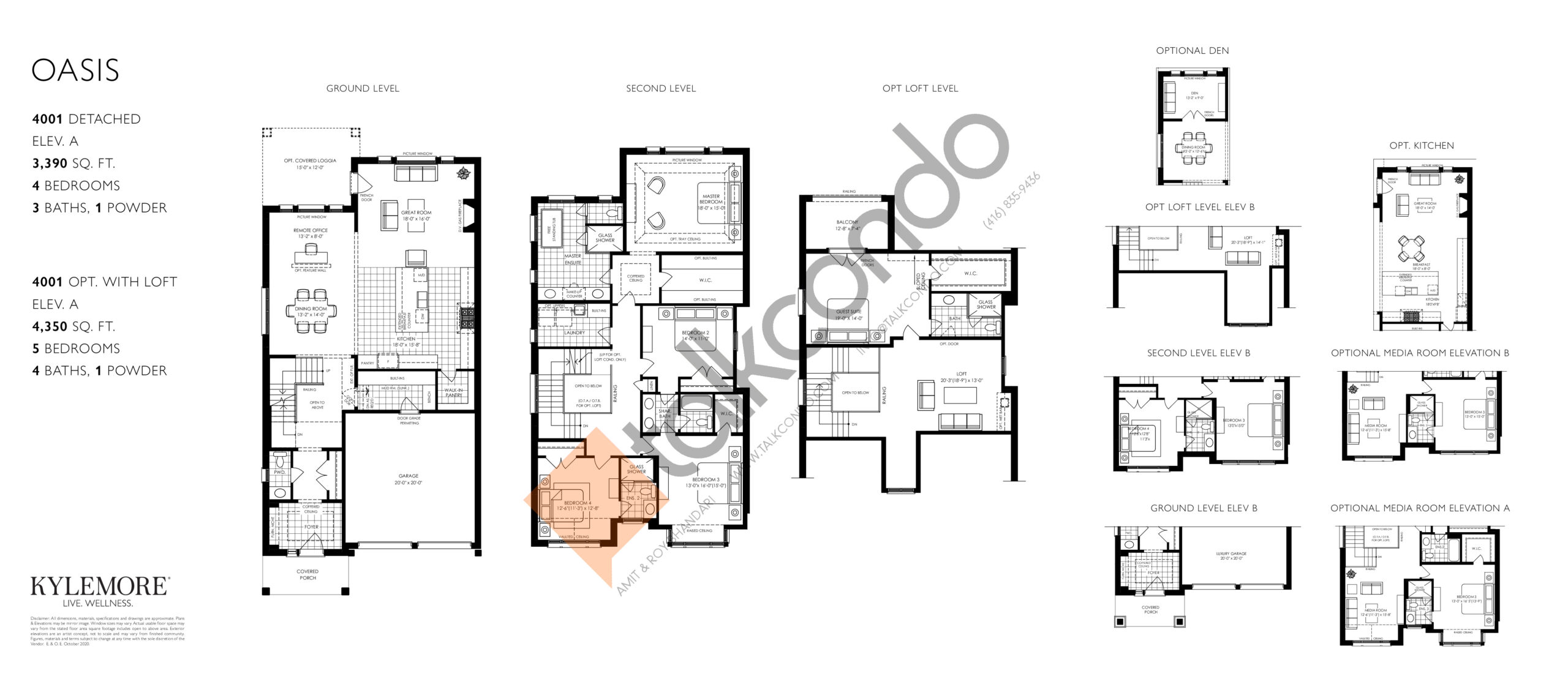 Oasis (Opt. Loft) Floor Plan at Angus Glen South Village - 4410 sq.ft