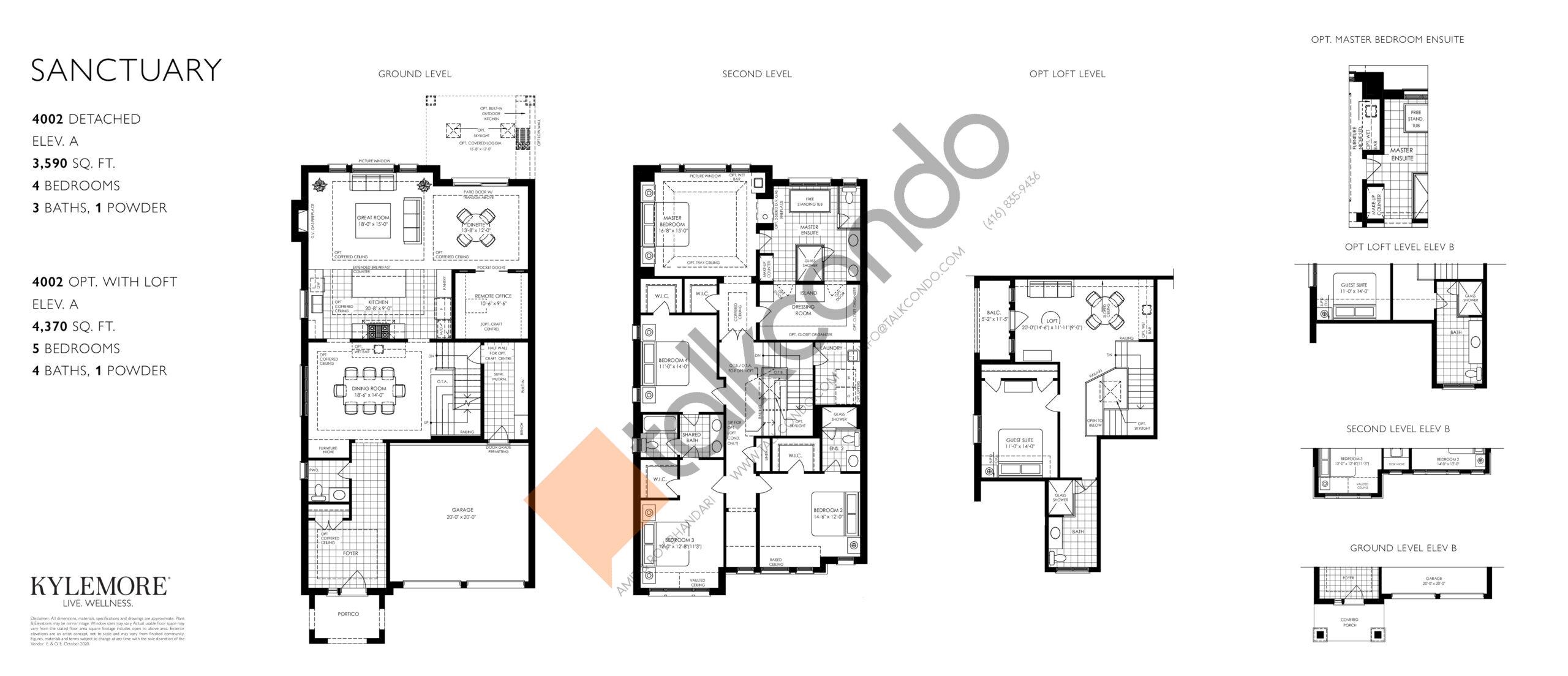 Sanctuary (Opt. Loft) Floor Plan at Angus Glen South Village - 4370 sq.ft