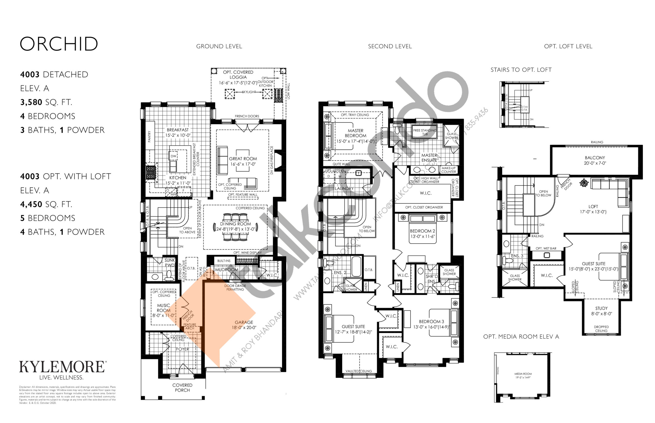 Orchid (Opt. Loft) Floor Plan at Angus Glen South Village - 4450 sq.ft