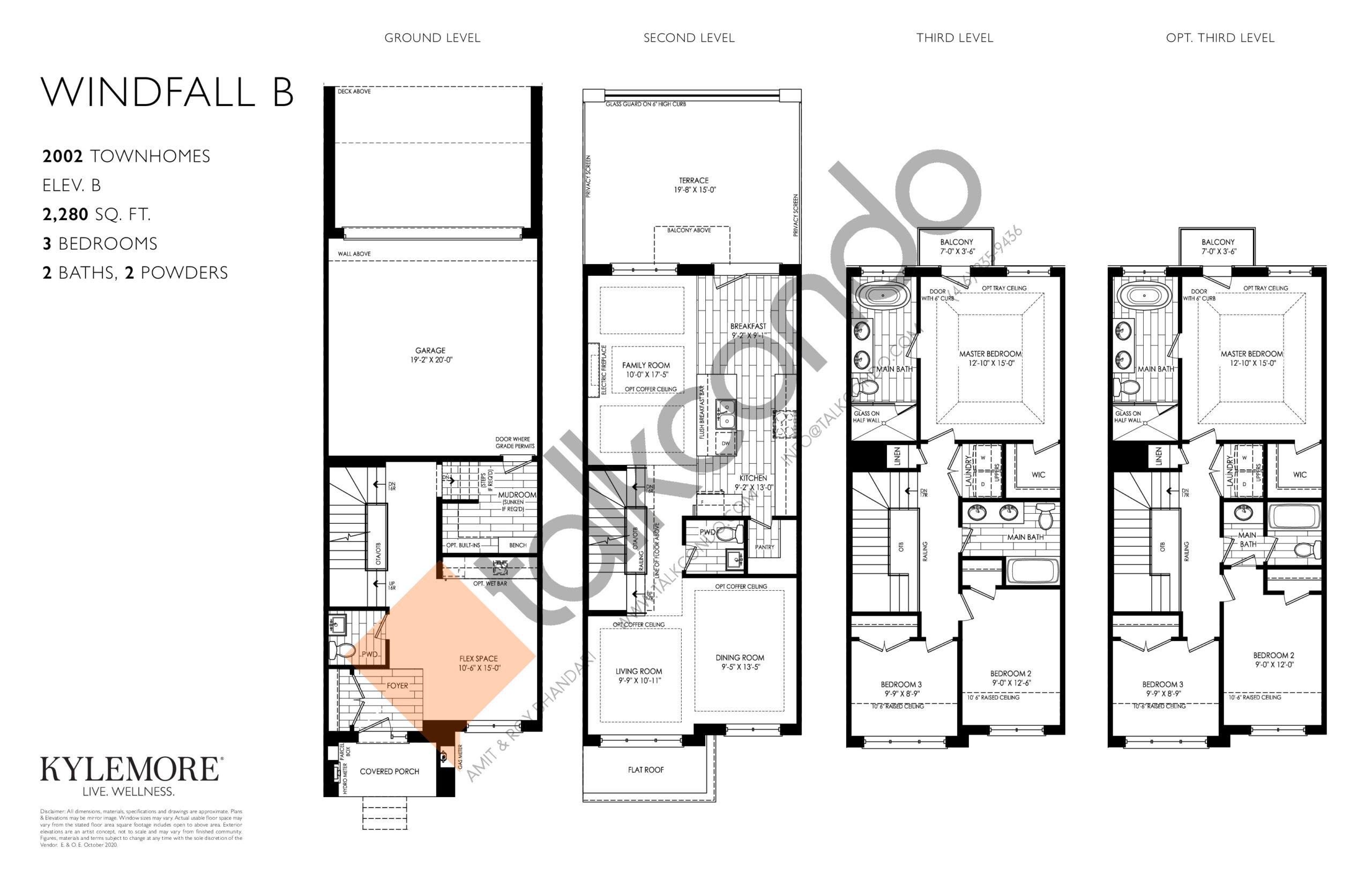 Windfall B Floor Plan at Angus Glen South Village - 2280 sq.ft