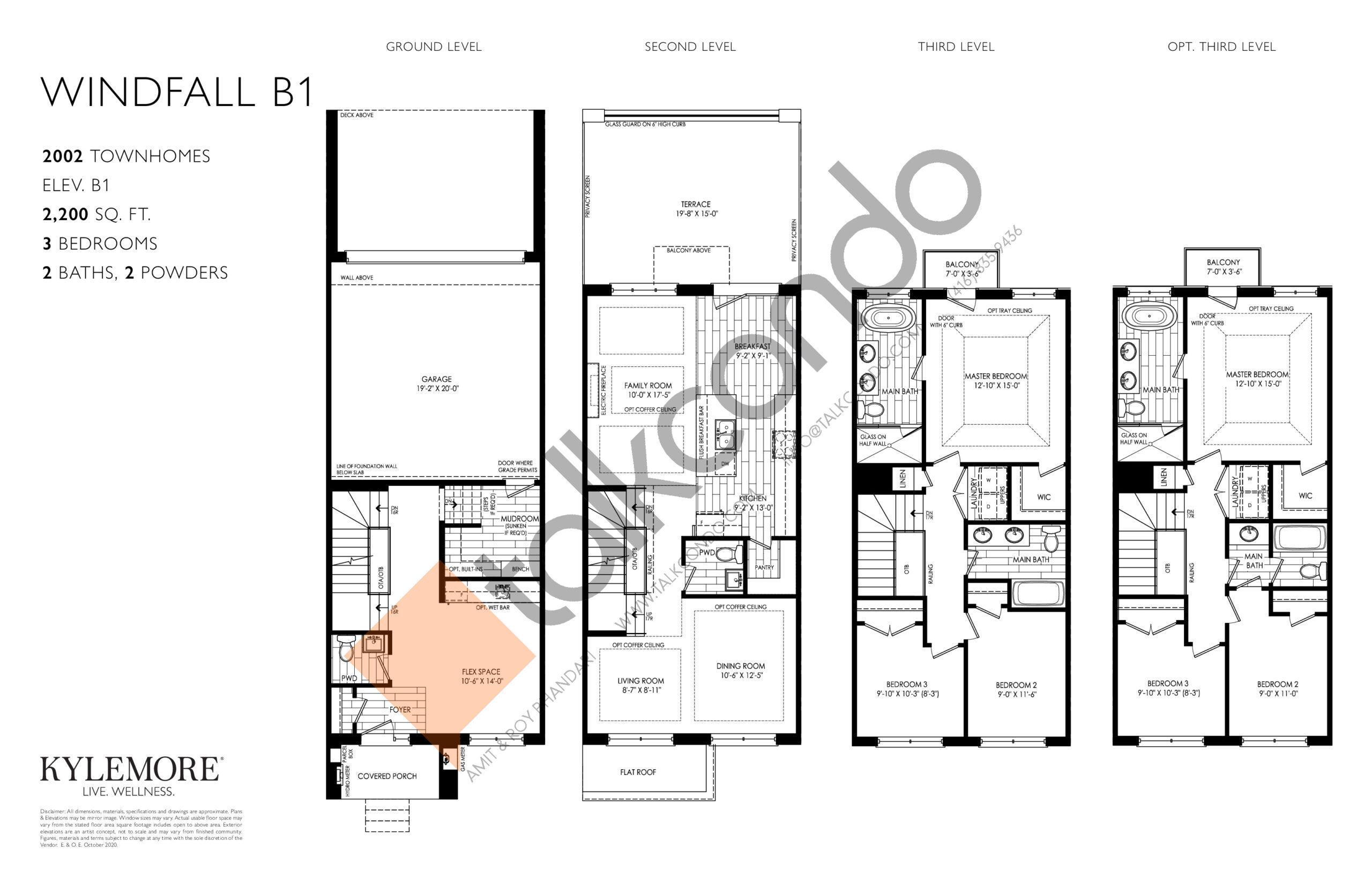 Windfall B1 Floor Plan at Angus Glen South Village - 2200 sq.ft