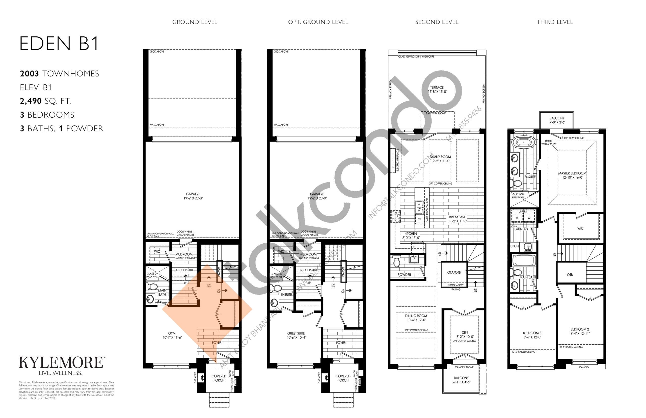 Eden B1 Floor Plan at Angus Glen South Village - 2490 sq.ft