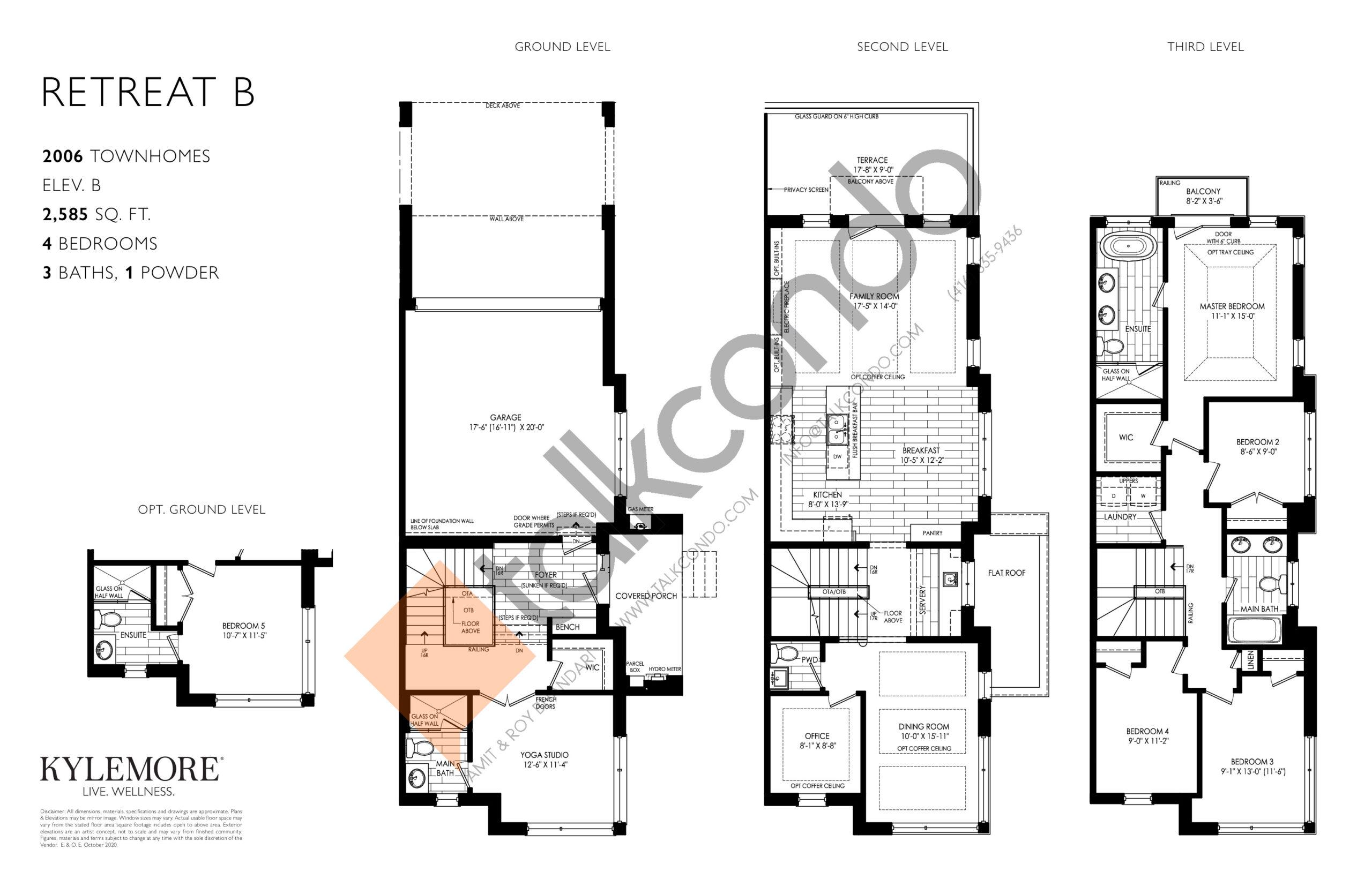 Retreat B Floor Plan at Angus Glen South Village - 2585 sq.ft