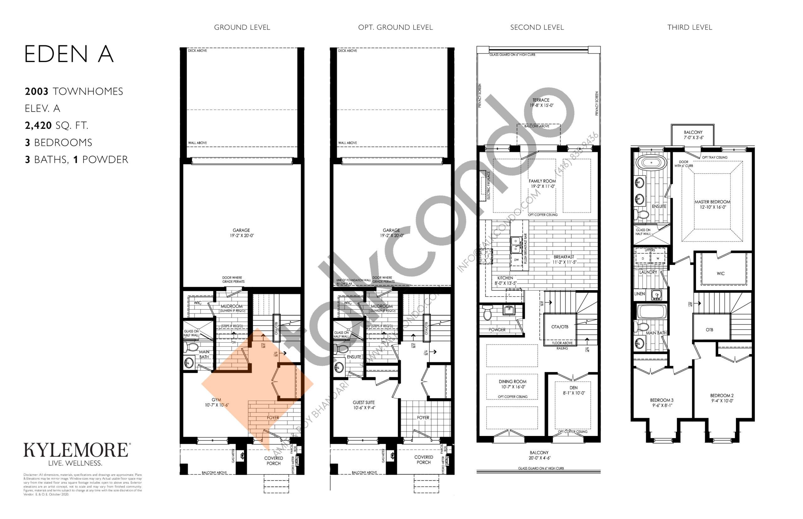 Eden A Floor Plan at Angus Glen South Village - 2420 sq.ft