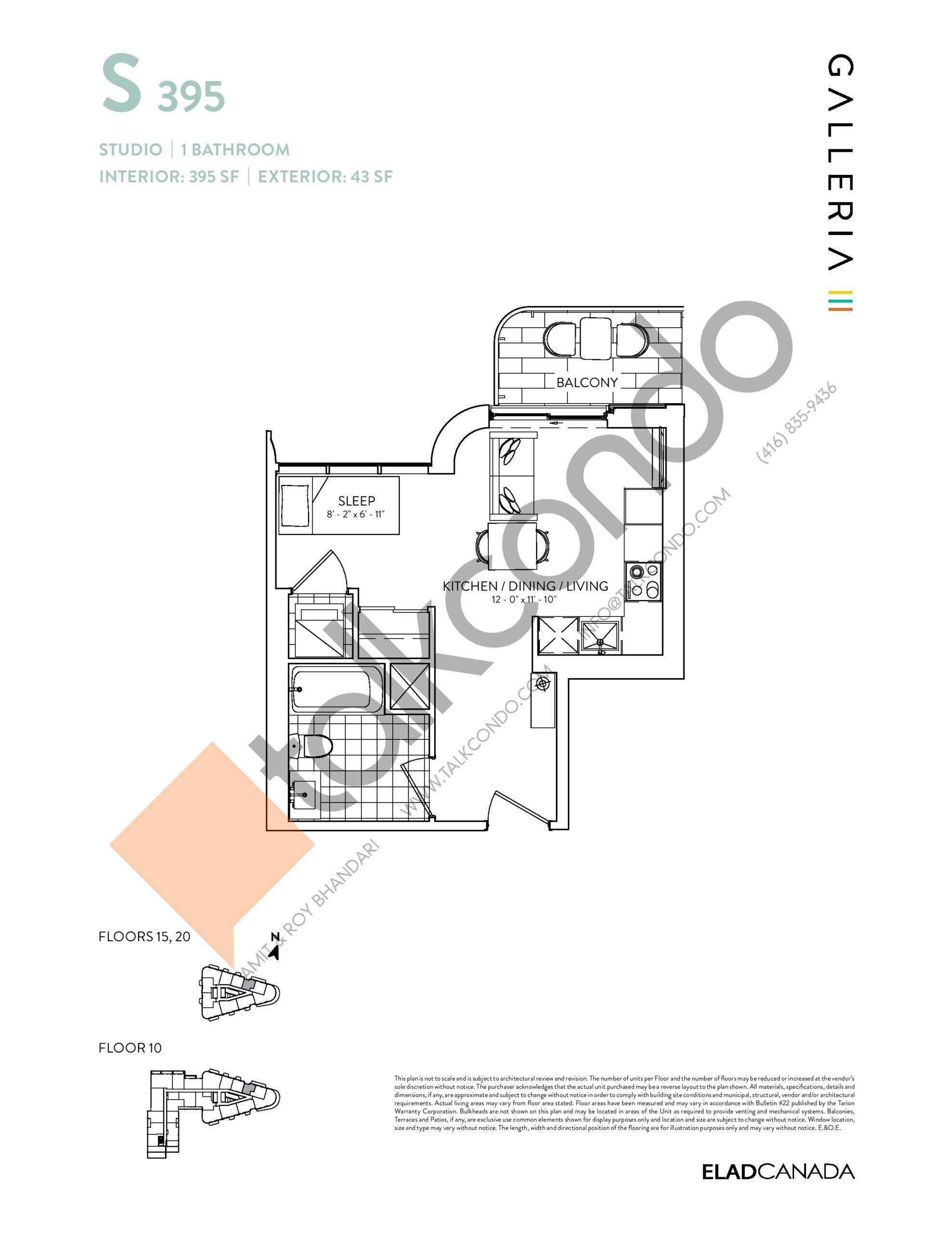 S 395 Floor Plan at Galleria 03 Condos - 395 sq.ft