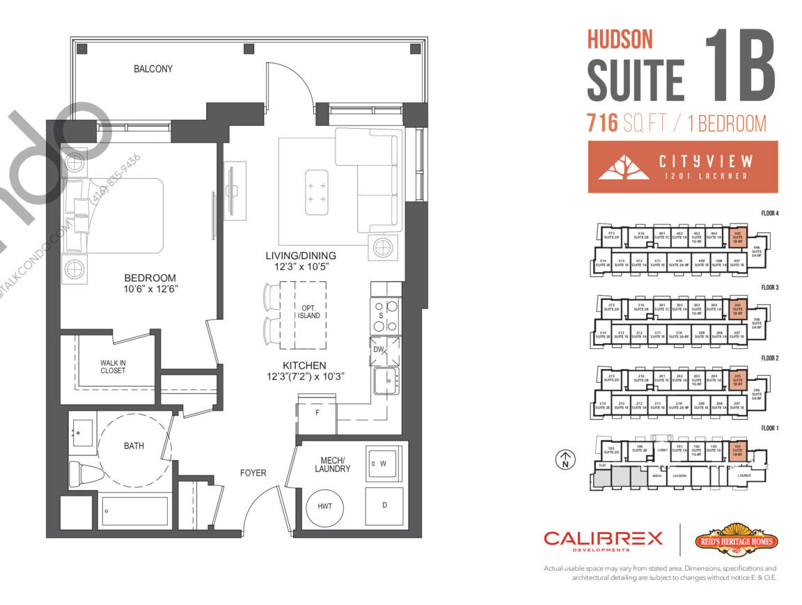 Hudson Floor Plan at Lackner Ridge Condos - 716 sq.ft