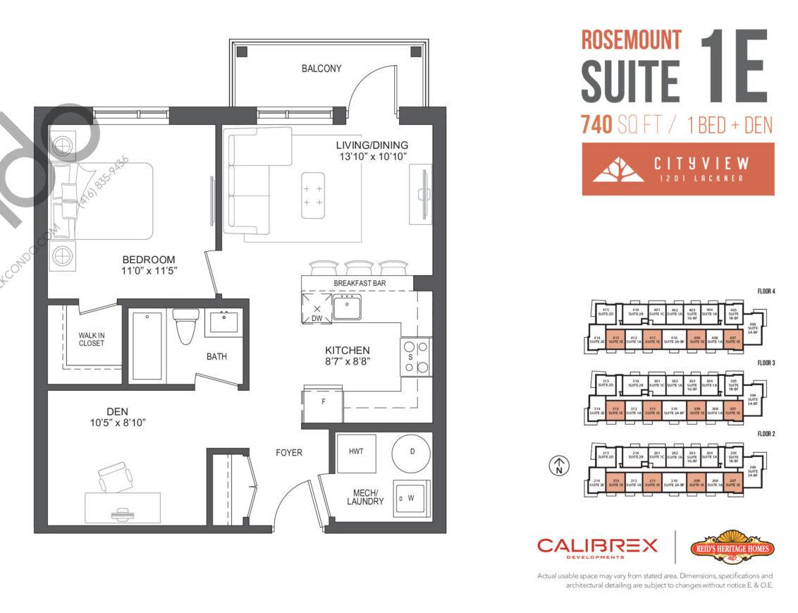 Rosemount Floor Plan at Lackner Ridge Condos - 740 sq.ft