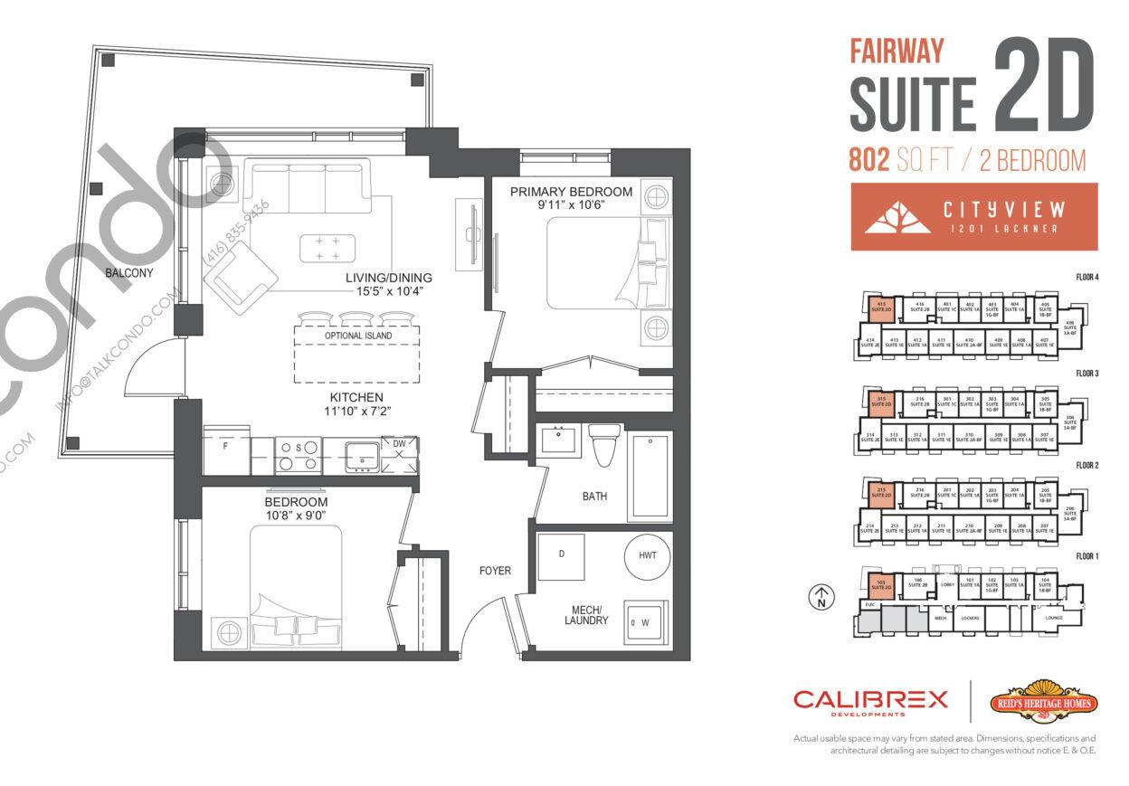 Fairway Floor Plan at Lackner Ridge Condos - 802 sq.ft