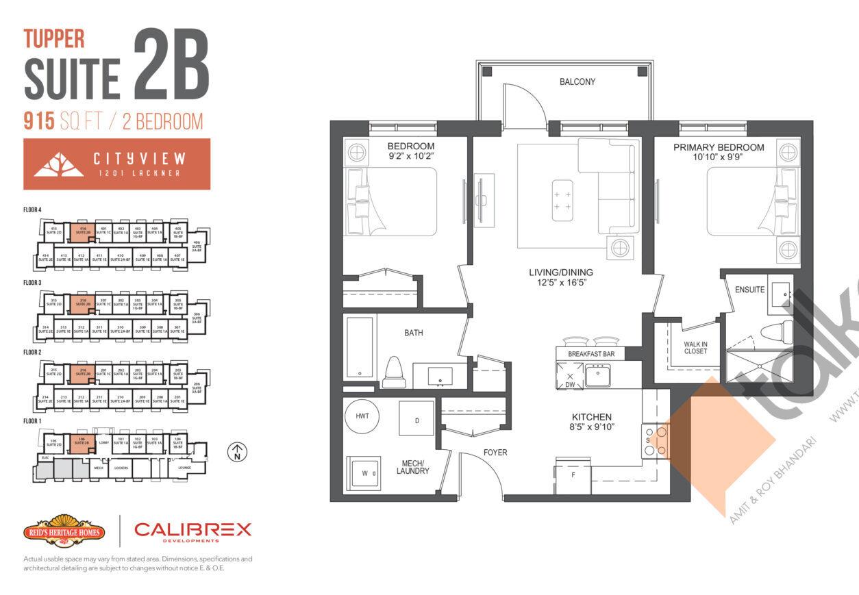 Tupper Floor Plan at Lackner Ridge Condos - 915 sq.ft