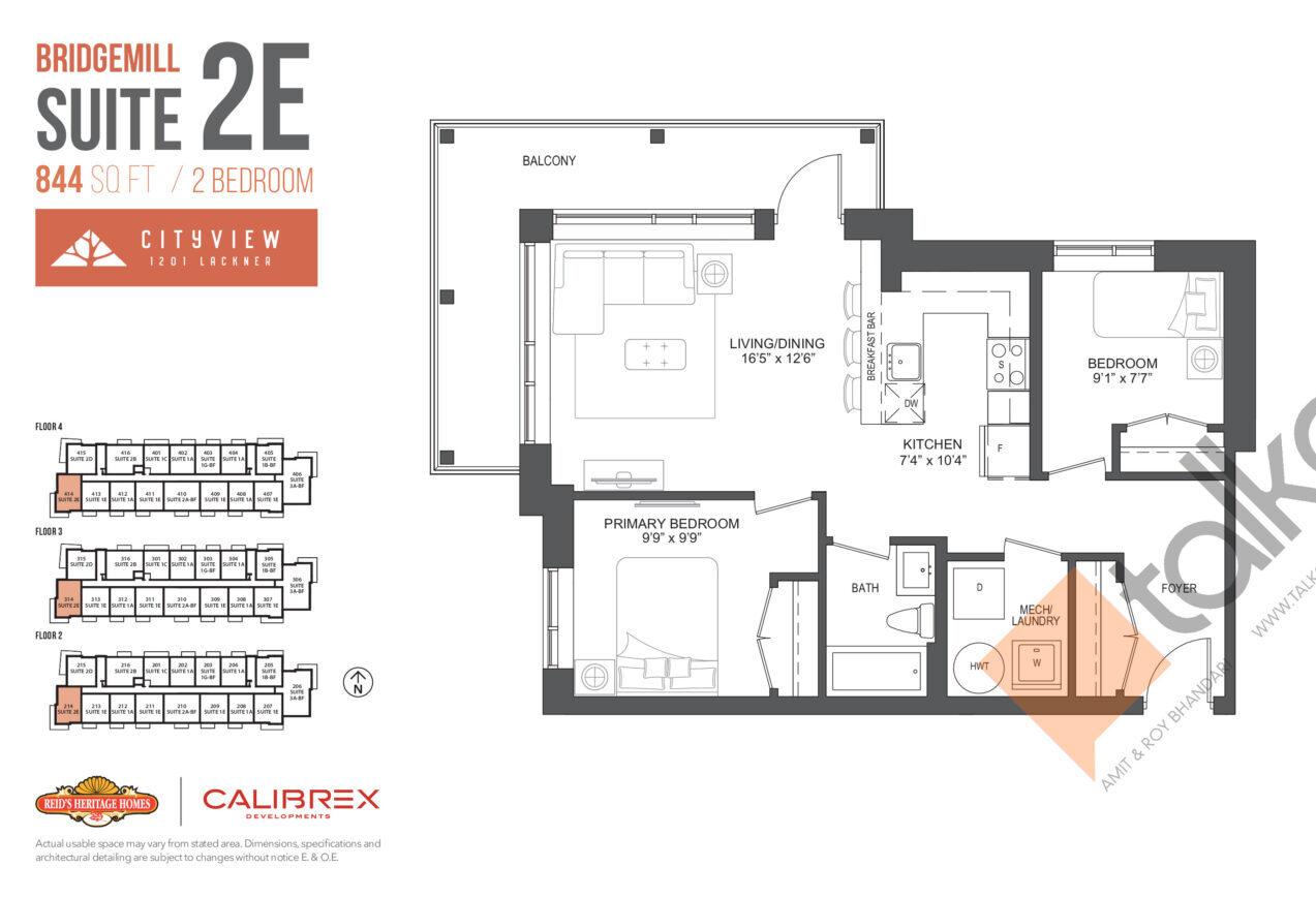 Bridgemill Floor Plan at Lackner Ridge Condos - 844 sq.ft