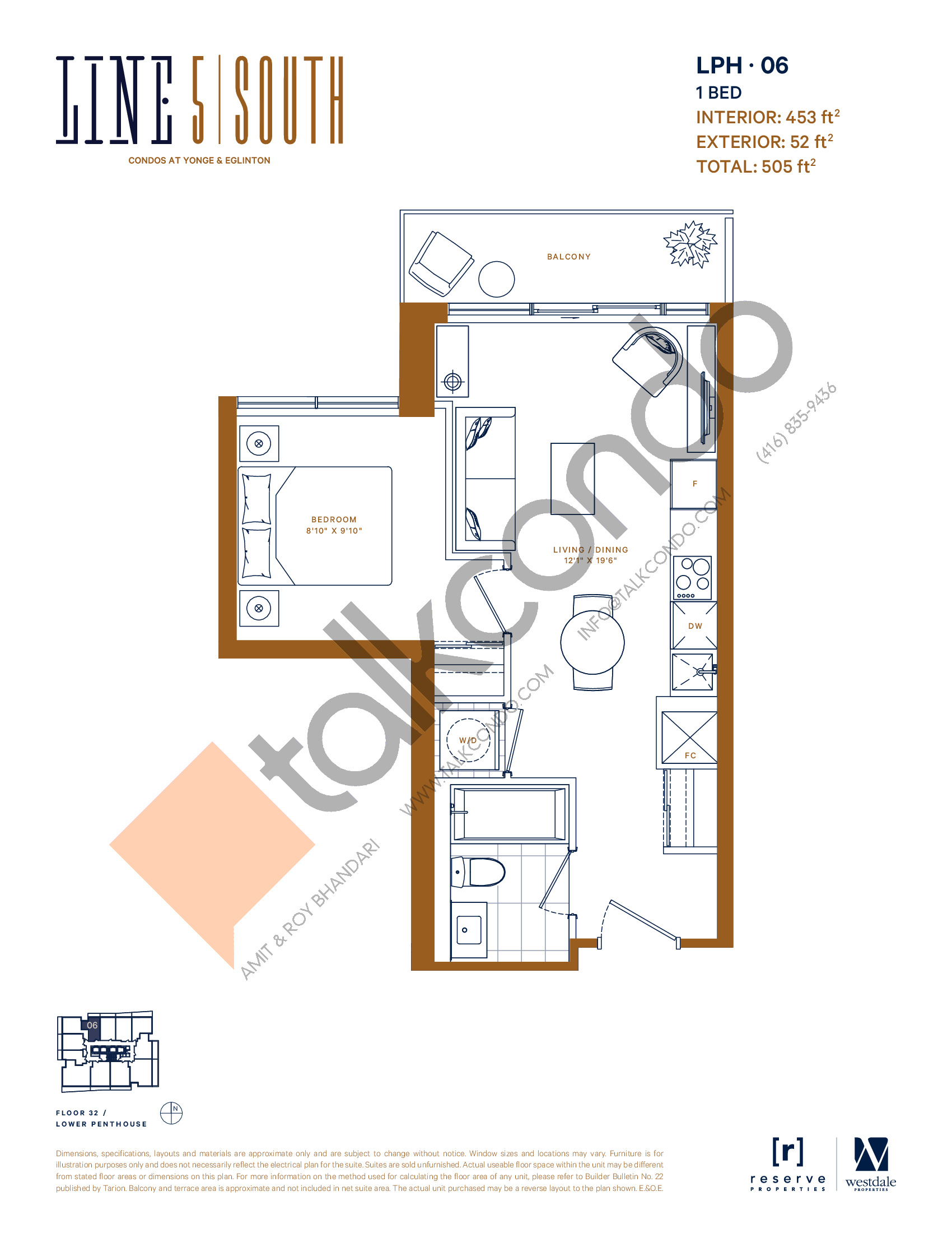 LPH-06 Floor Plan at Line 5 South Tower Condos - 453 sq.ft