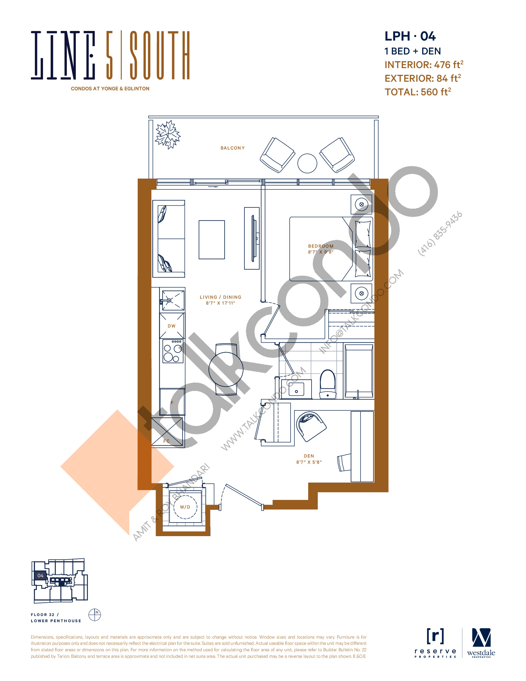 LPH-04 Floor Plan at Line 5 South Tower Condos - 476 sq.ft