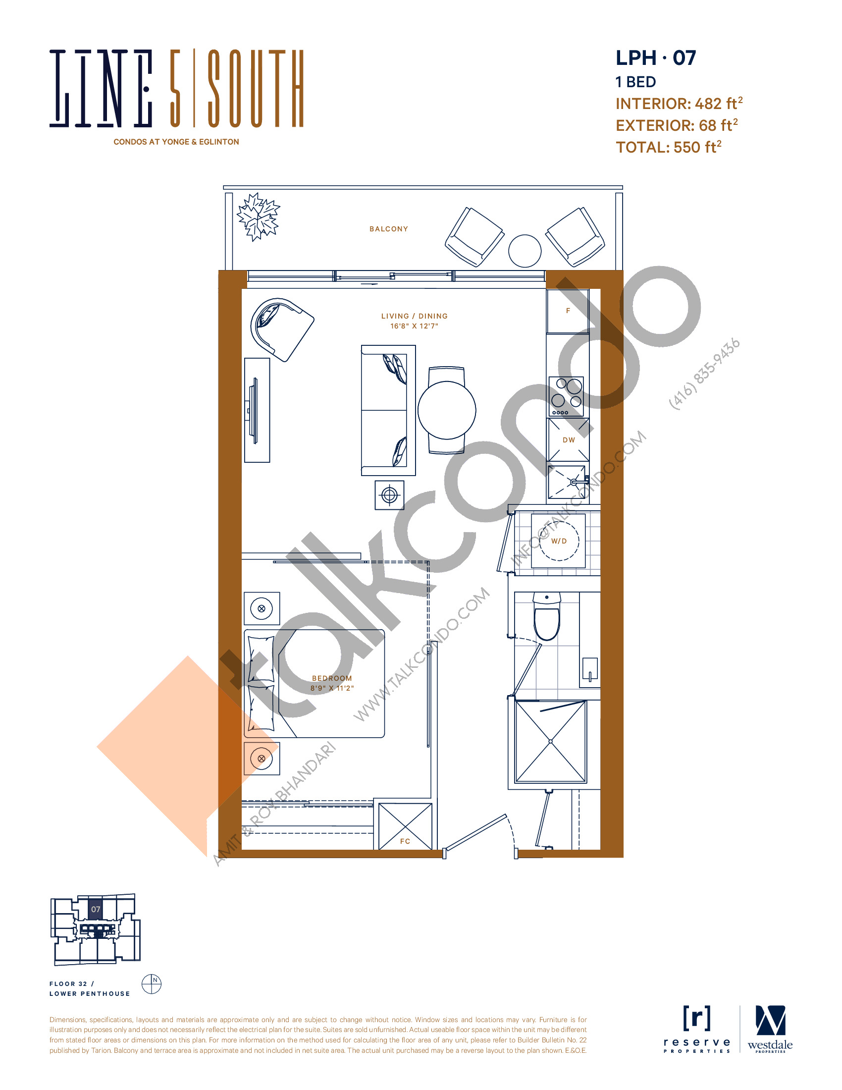 LPH-07 Floor Plan at Line 5 South Tower Condos - 482 sq.ft