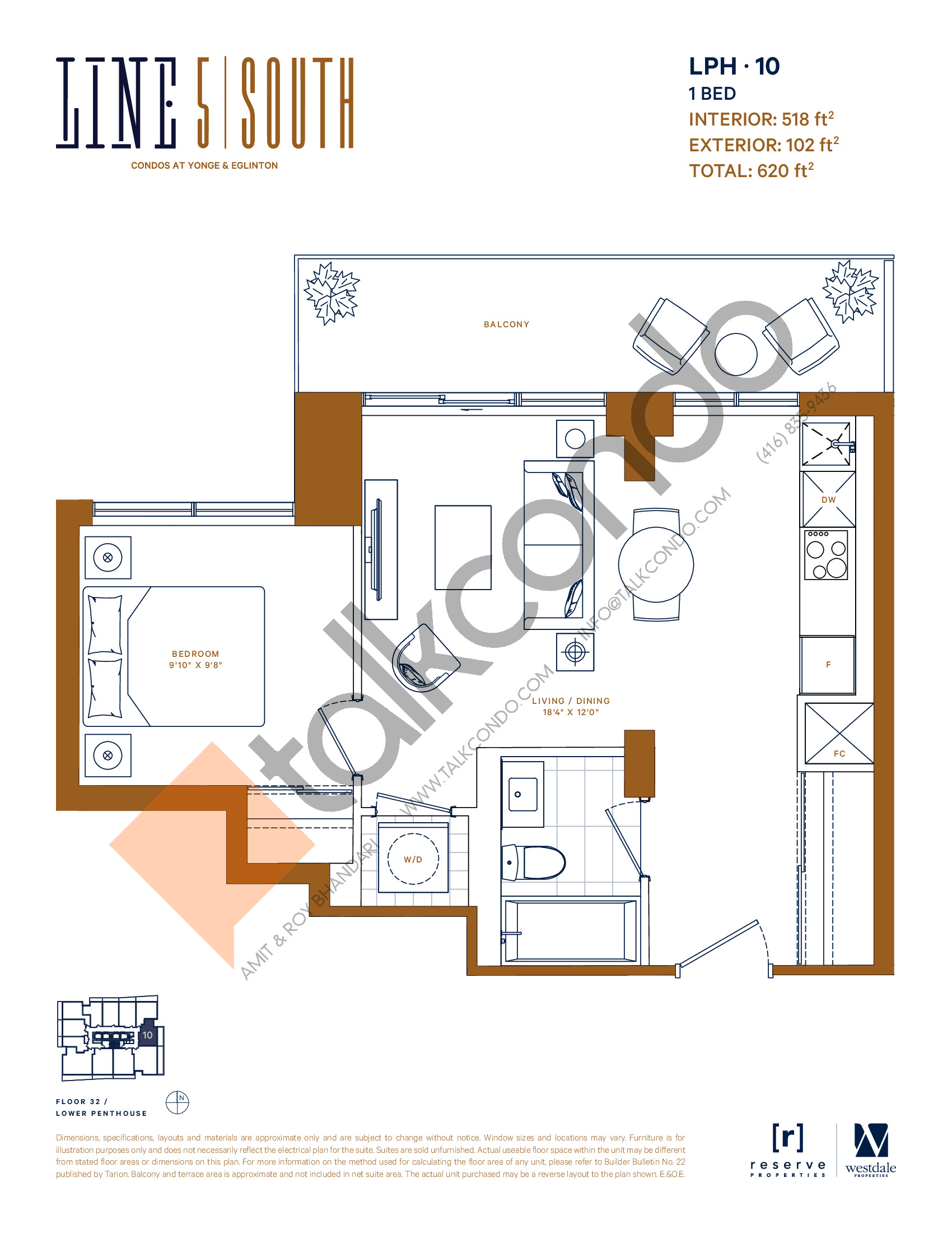 LPH-10 Floor Plan at Line 5 South Tower Condos - 518 sq.ft