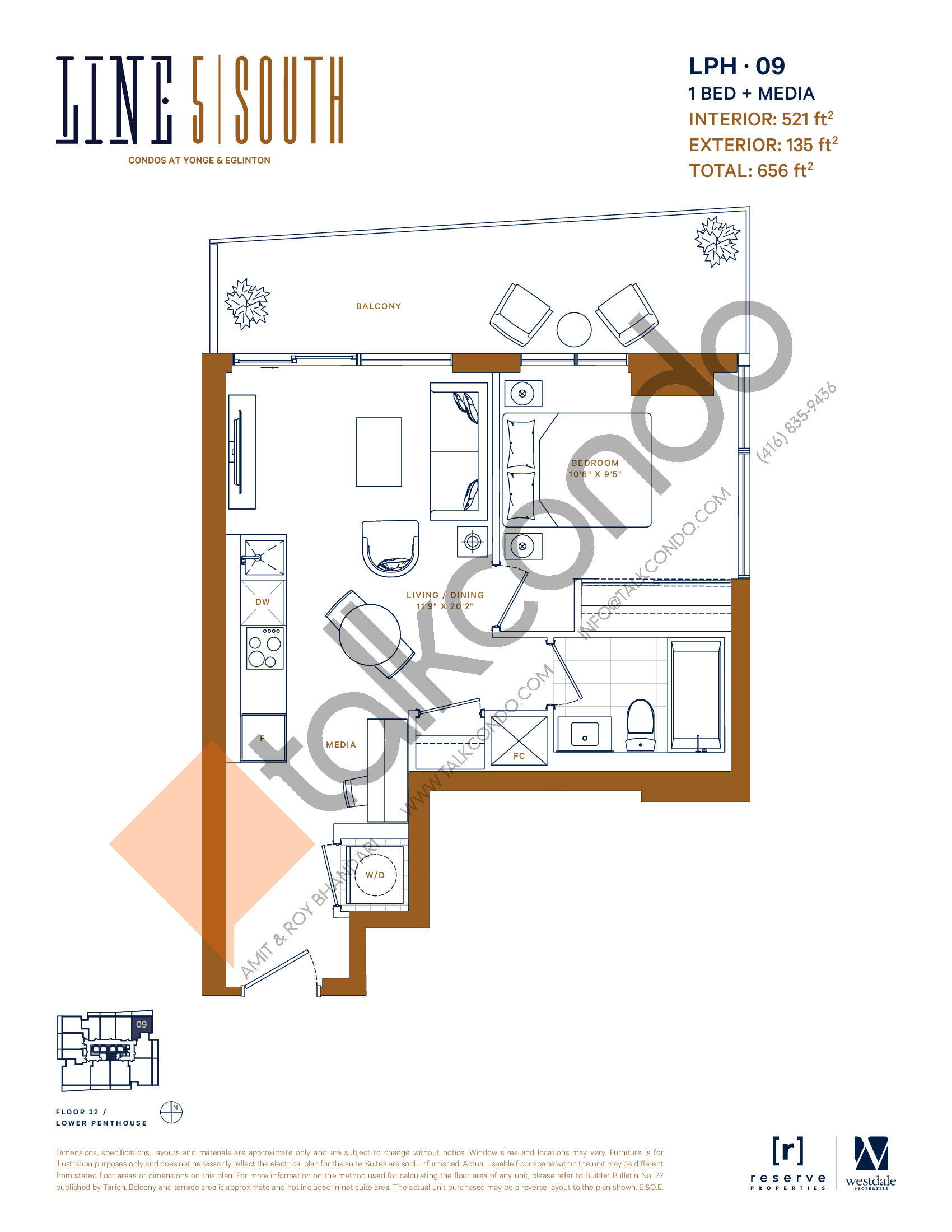 LPH-09 Floor Plan at Line 5 South Tower Condos - 521 sq.ft