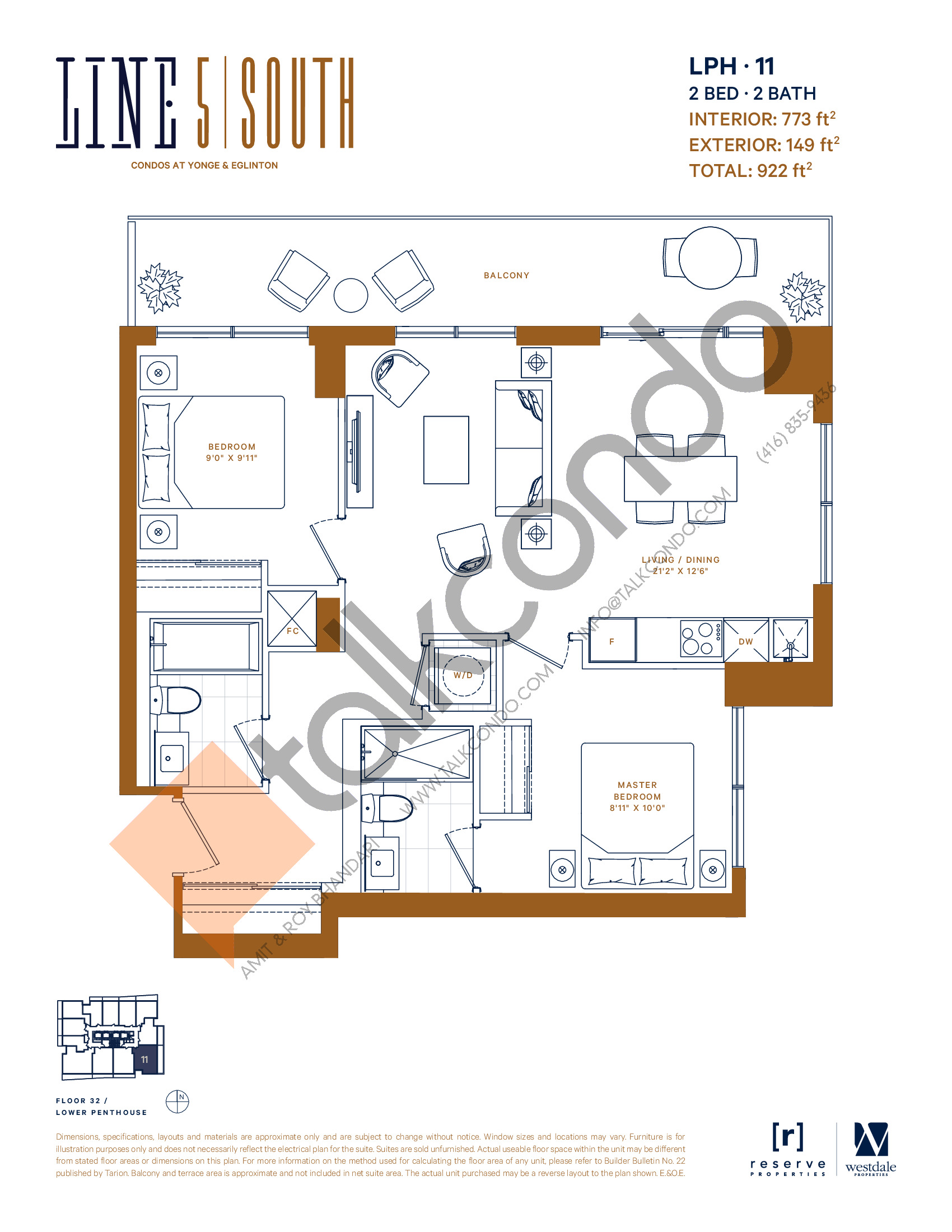 LPH-11 Floor Plan at Line 5 South Tower Condos - 773 sq.ft