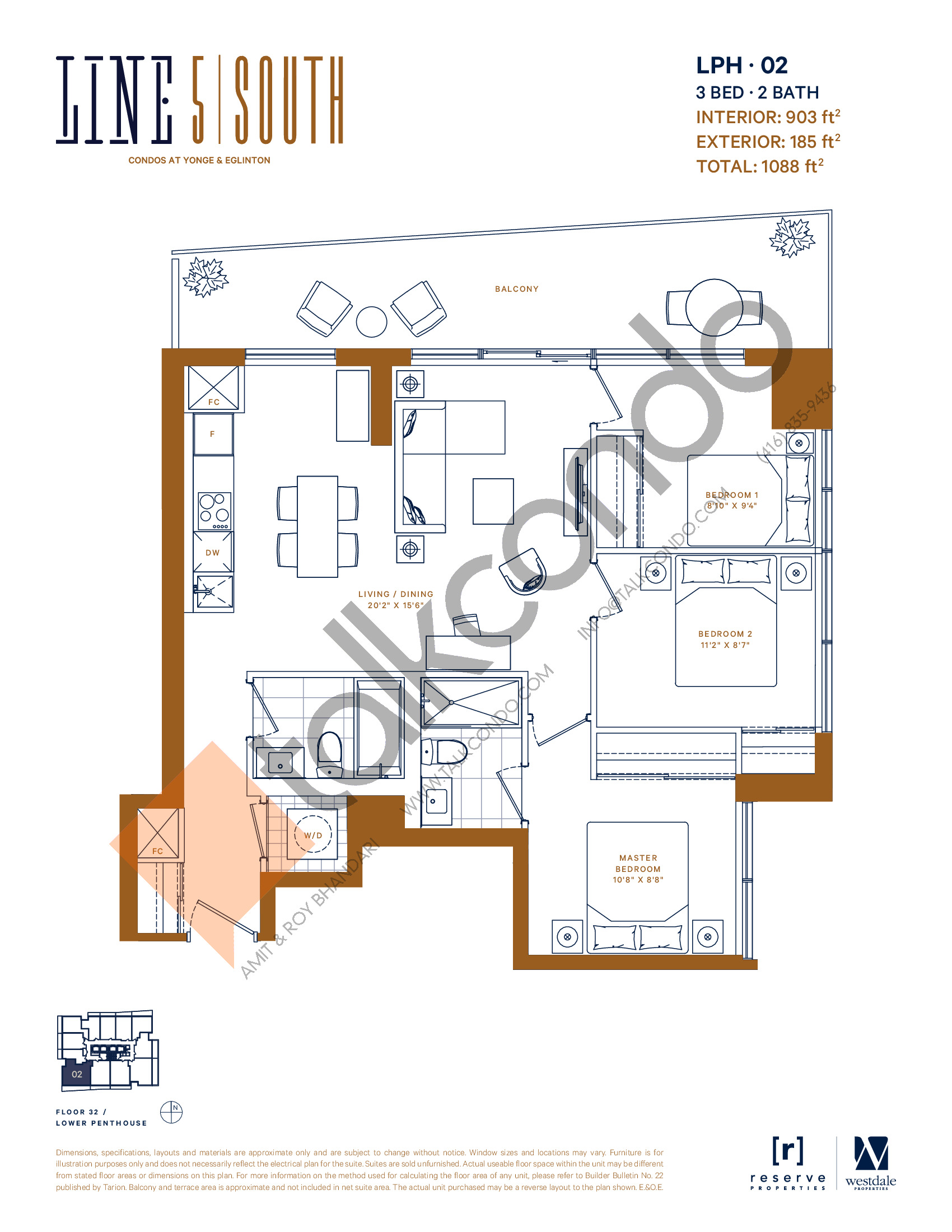 LPH-02 Floor Plan at Line 5 South Tower Condos - 903 sq.ft