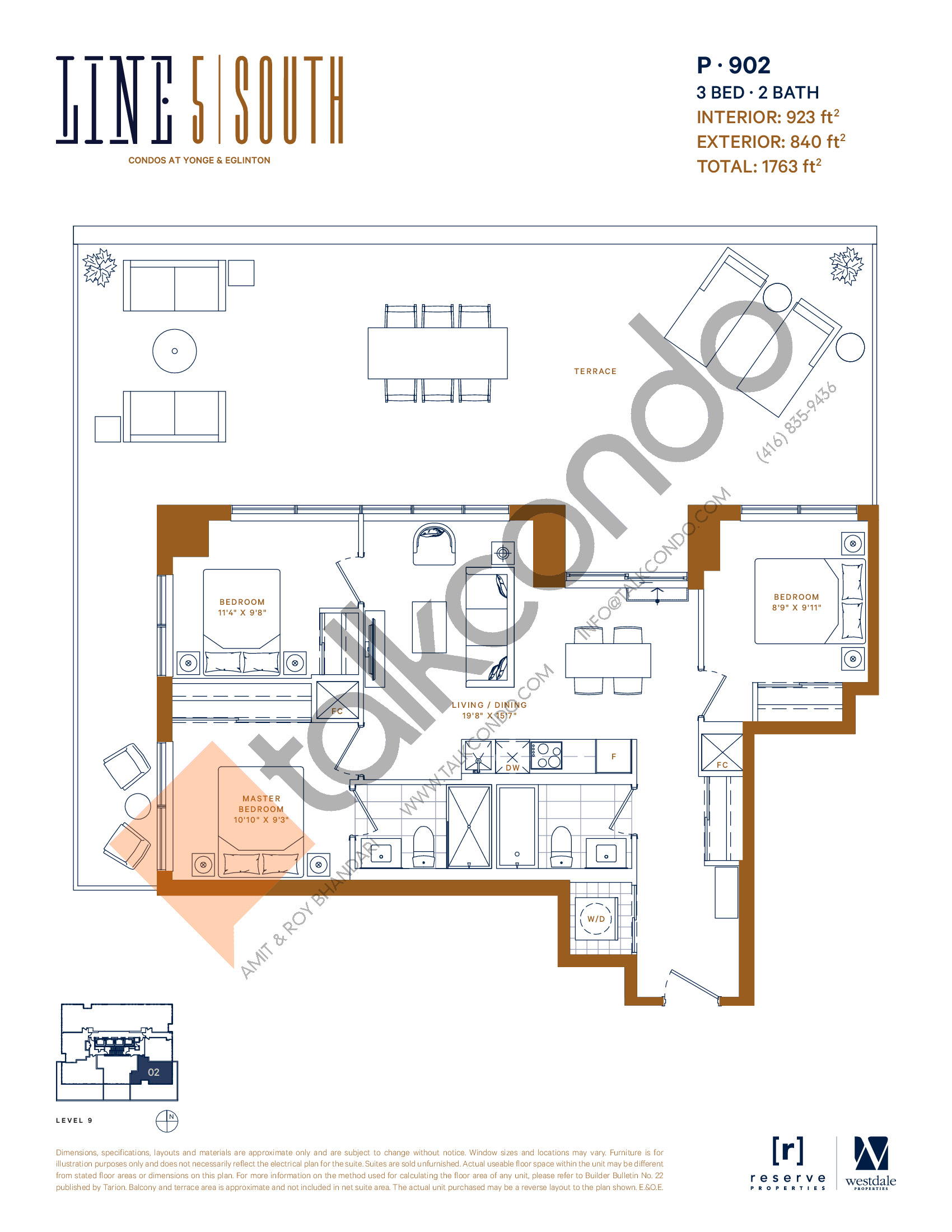 P-902 Floor Plan at Line 5 South Tower Condos - 923 sq.ft