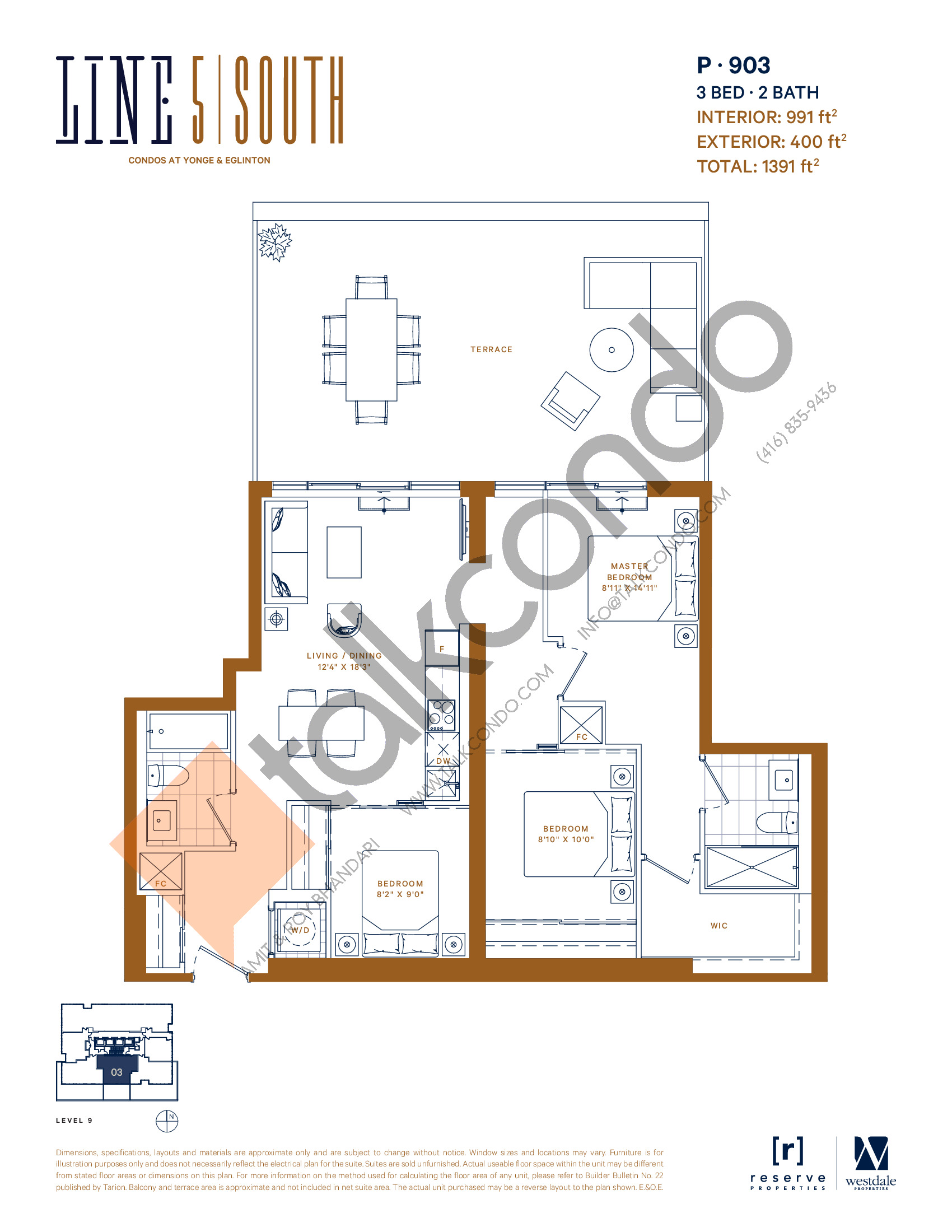P-903 Floor Plan at Line 5 South Tower Condos - 991 sq.ft
