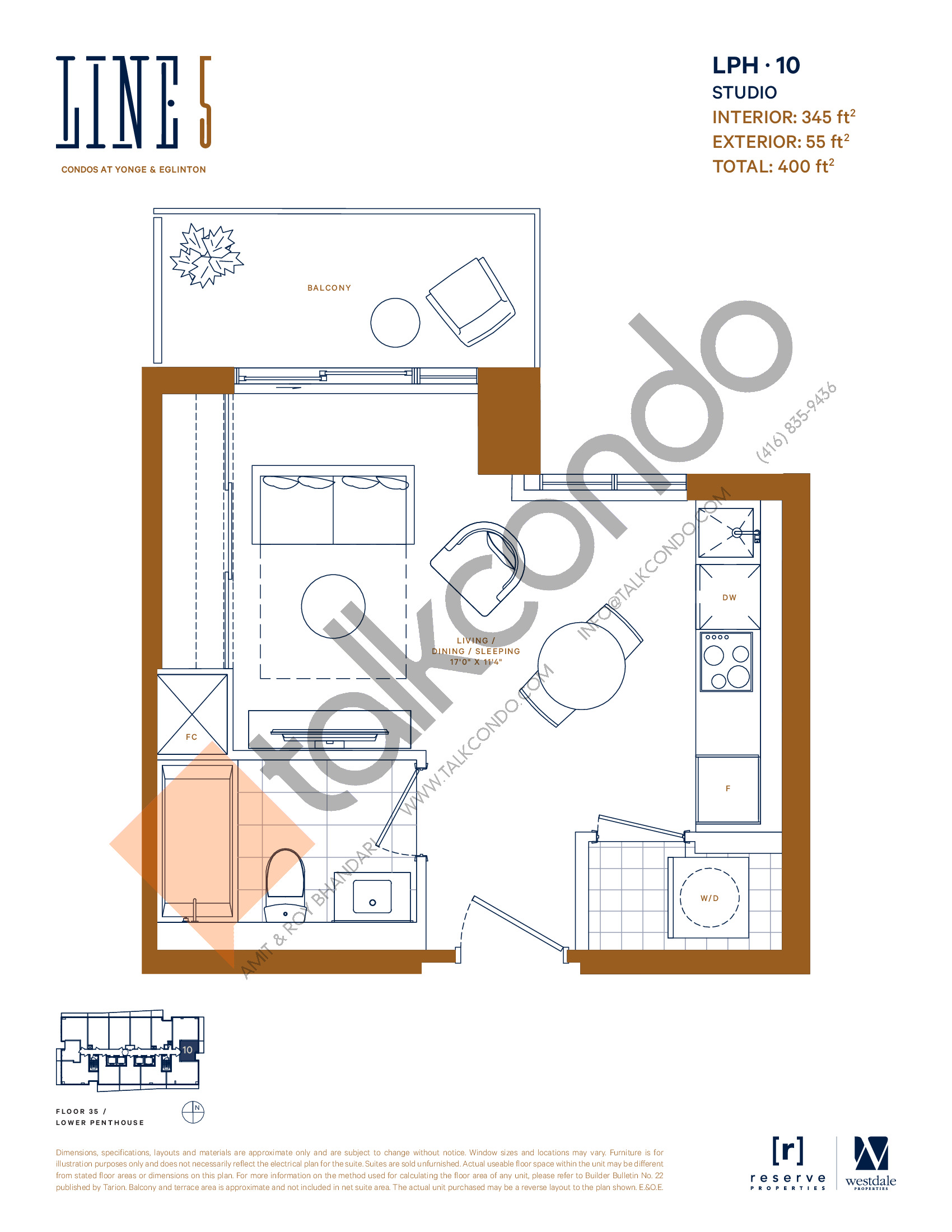 LPH-10 Floor Plan at Line 5 South Tower Condos - 345 sq.ft