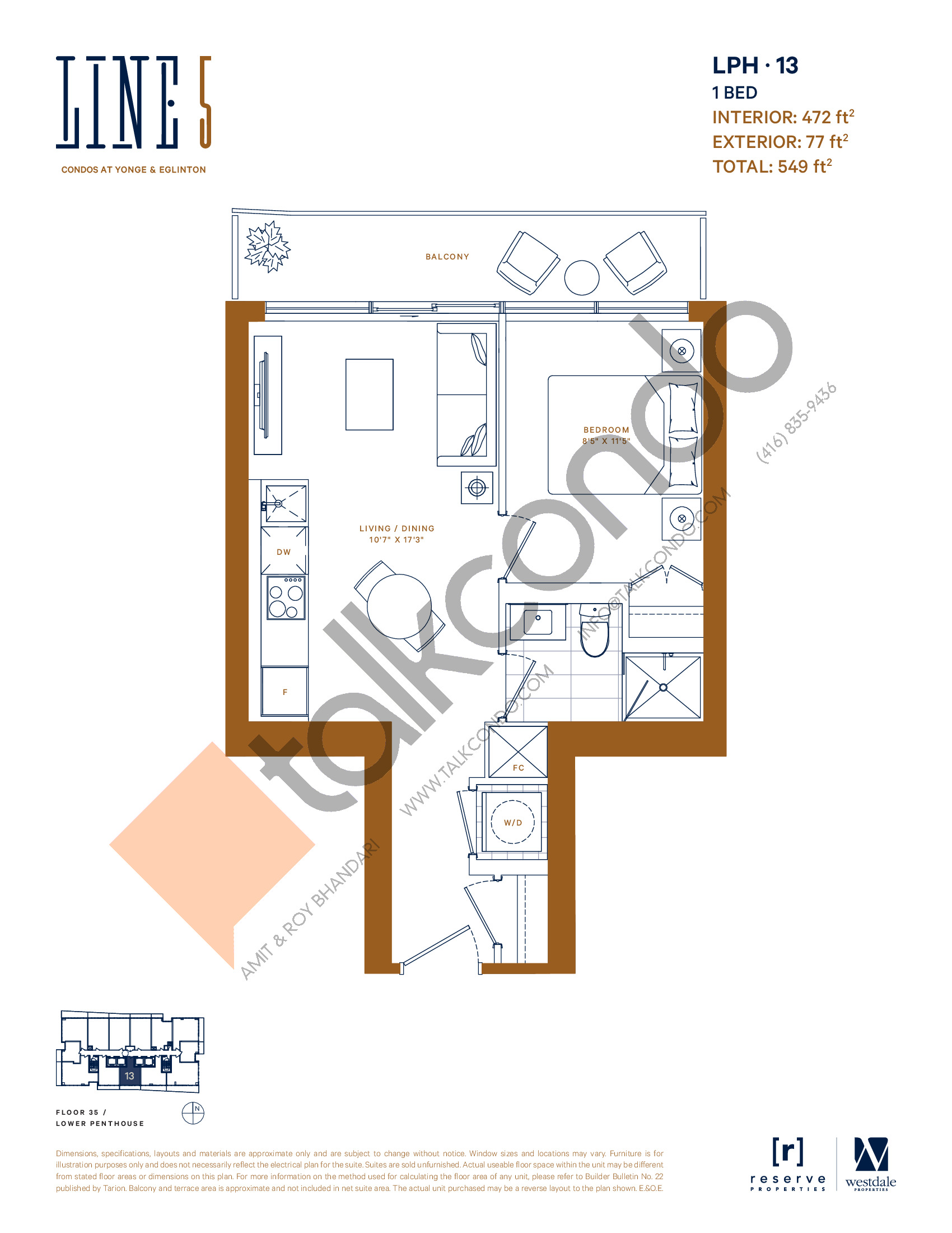 LPH-13 Floor Plan at Line 5 South Tower Condos - 472 sq.ft